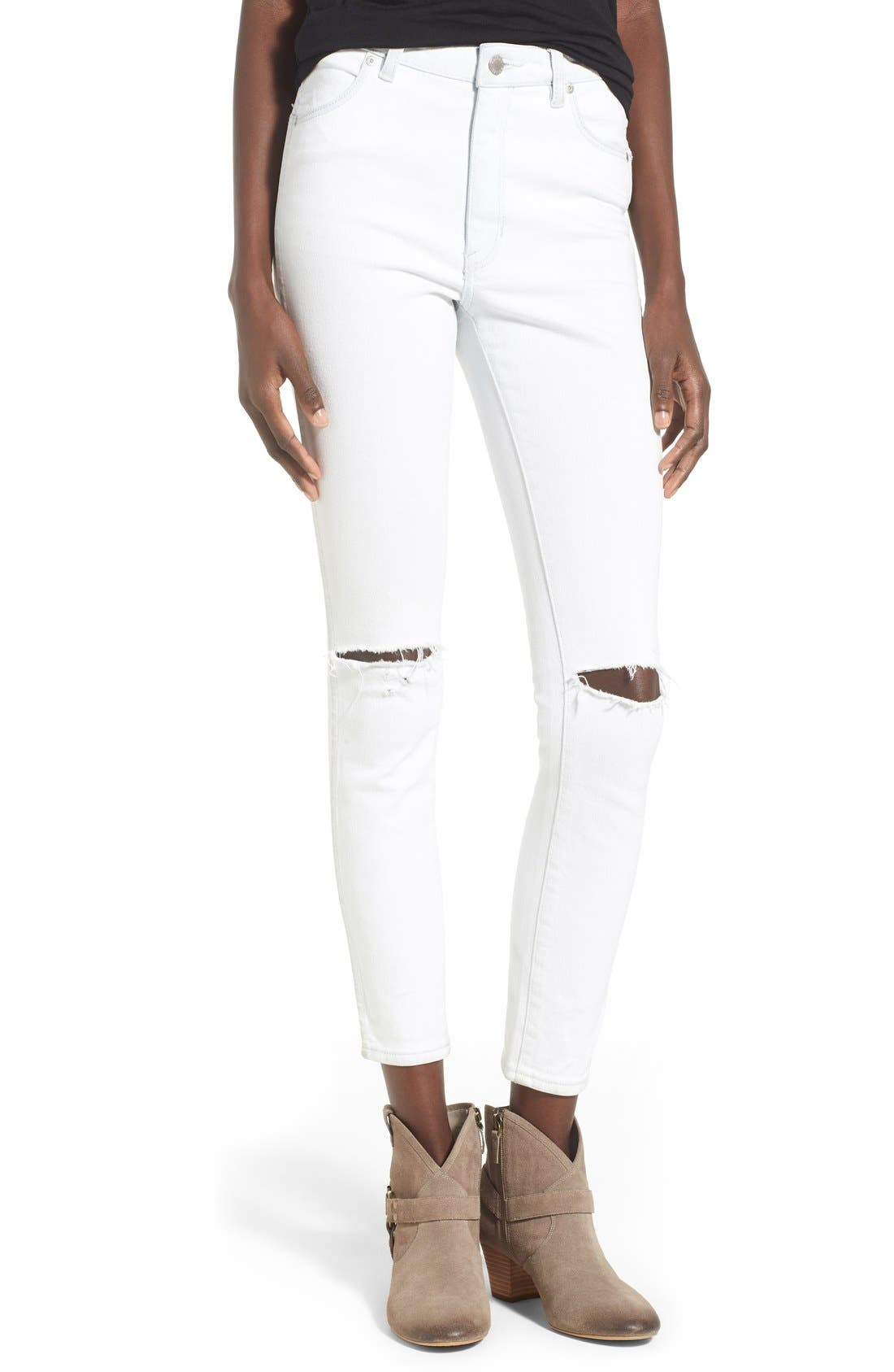 Alternate Image 1 Selected - Rolla's 'West Coast' Distressed Skinny Jeans (Worn White)