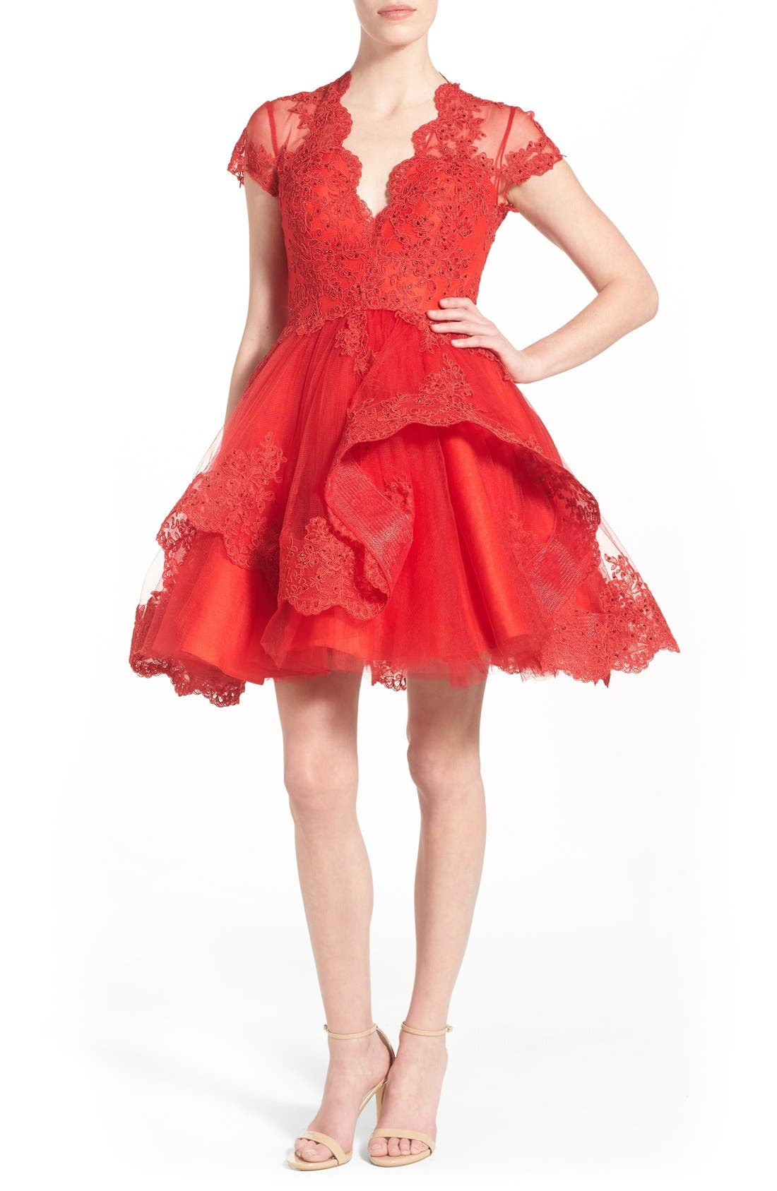 Alternate Image 1 Selected - Mac Duggal Lace Skater Dress