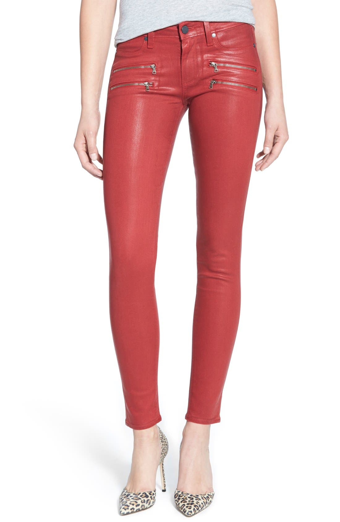 Alternate Image 1 Selected - Paige Denim 'Edgemont' Coated Ultra Skinny Jeans (Brick Silk)