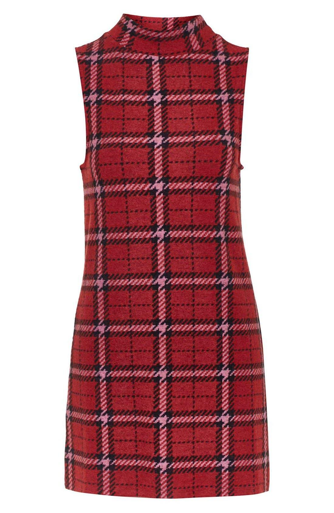 Alternate Image 4  - Topshop Plaid Funnel Neck Tunic Dress