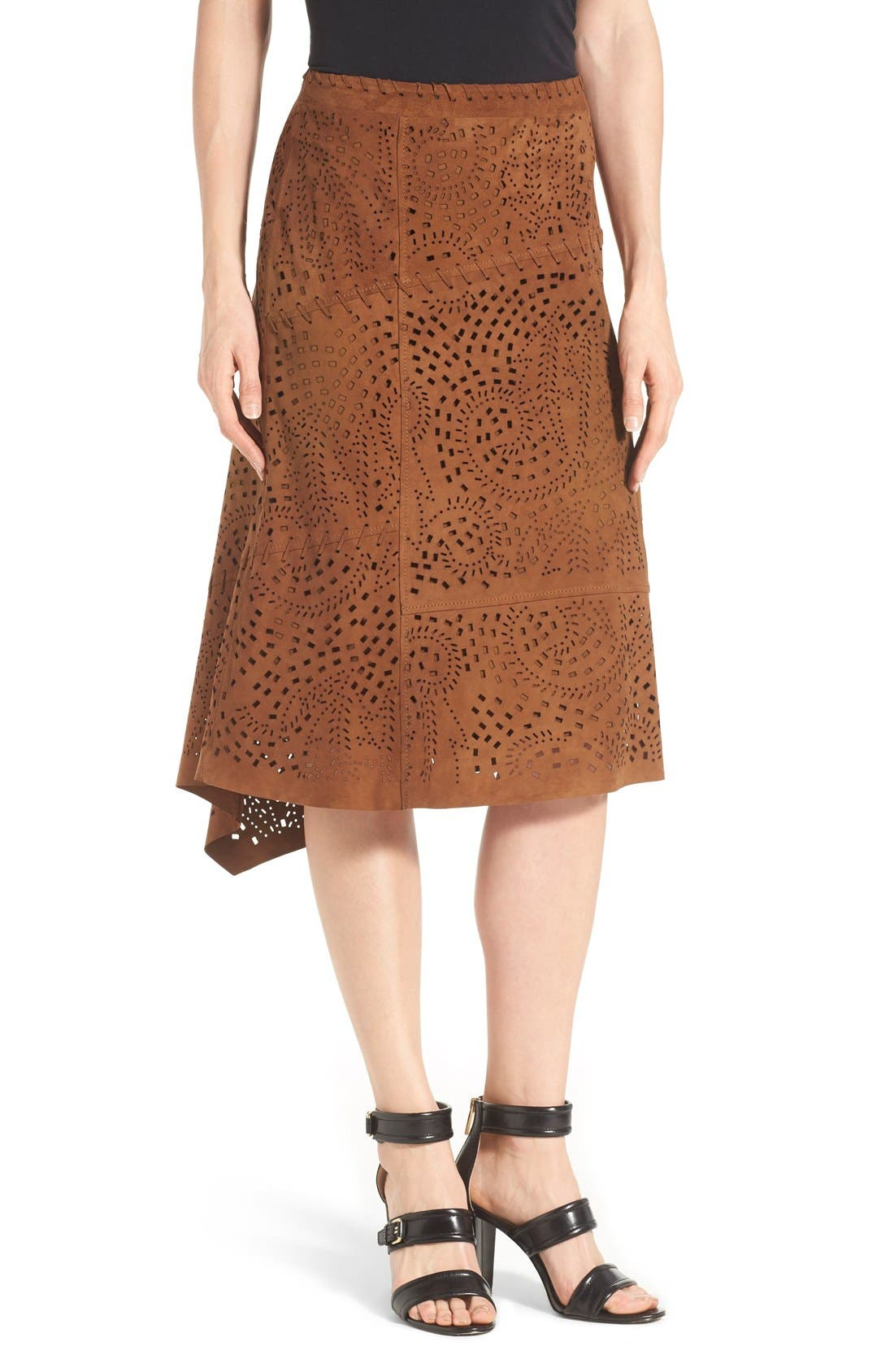 Main Image - Kobi Halperin Perforated Suede Asymmetrical A-Line Skirt