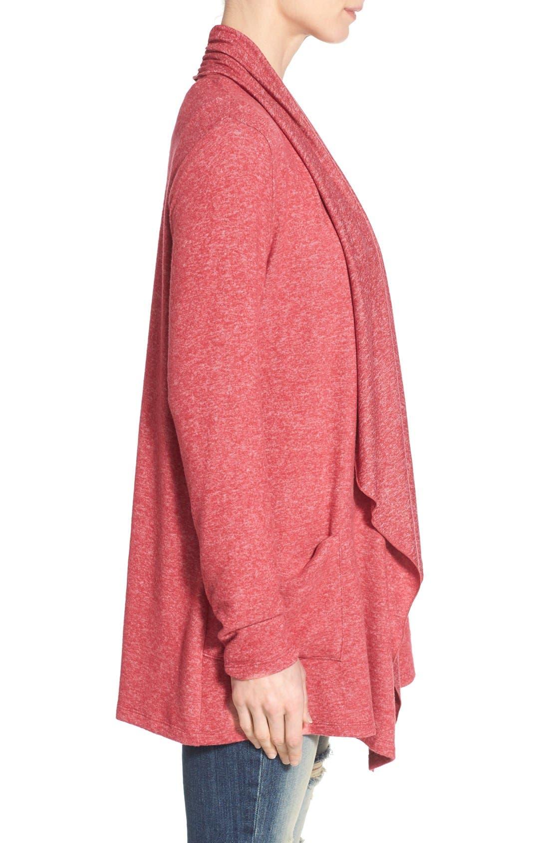 Alternate Image 3  - Bobeau Two-Pocket Drape Front Cardigan (Regular & Petite)