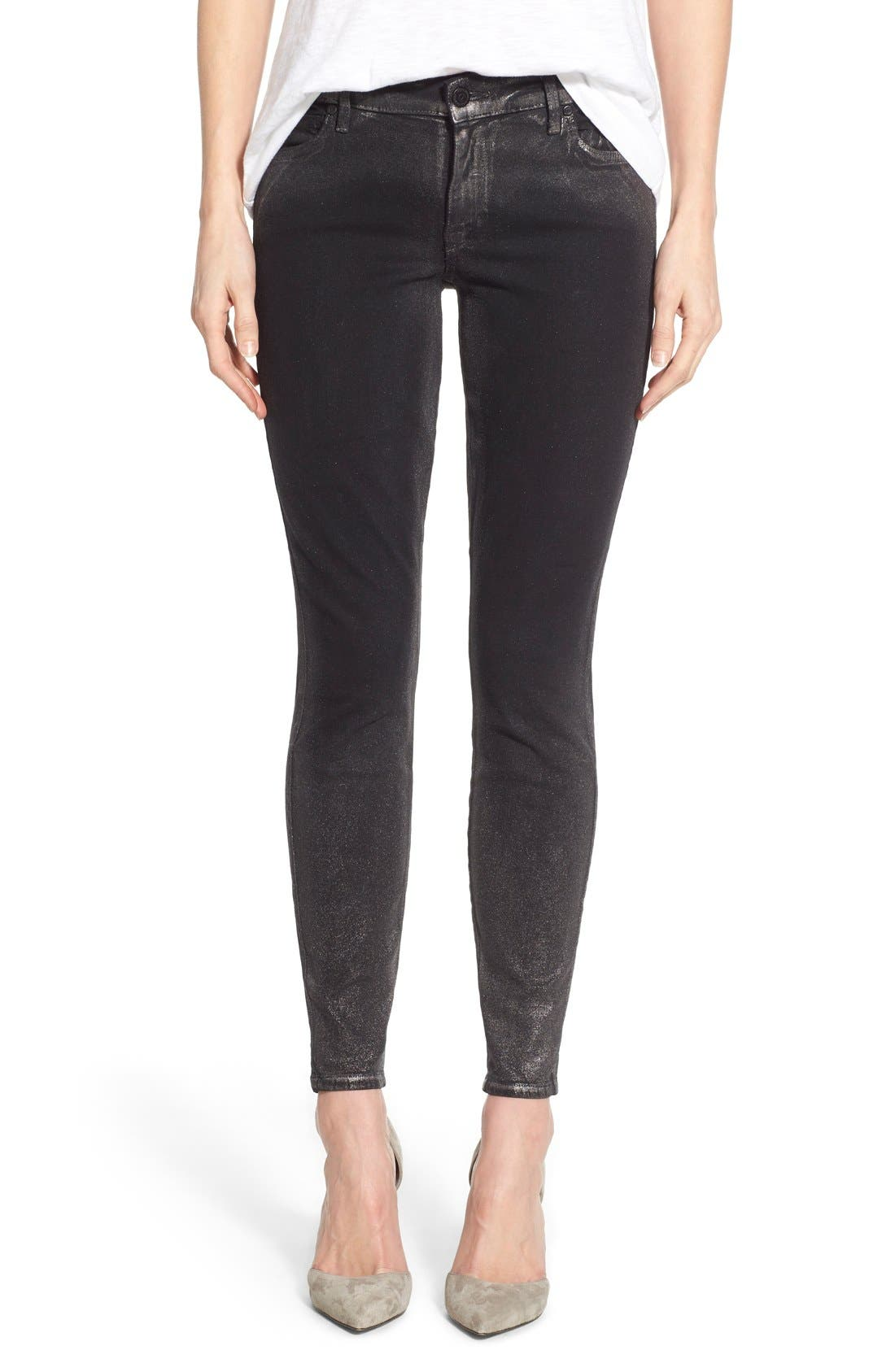 Alternate Image 1 Selected - CJ by Cookie Johnson 'Wisdom' Brushed Foil Skinny Jeans (Pewter)
