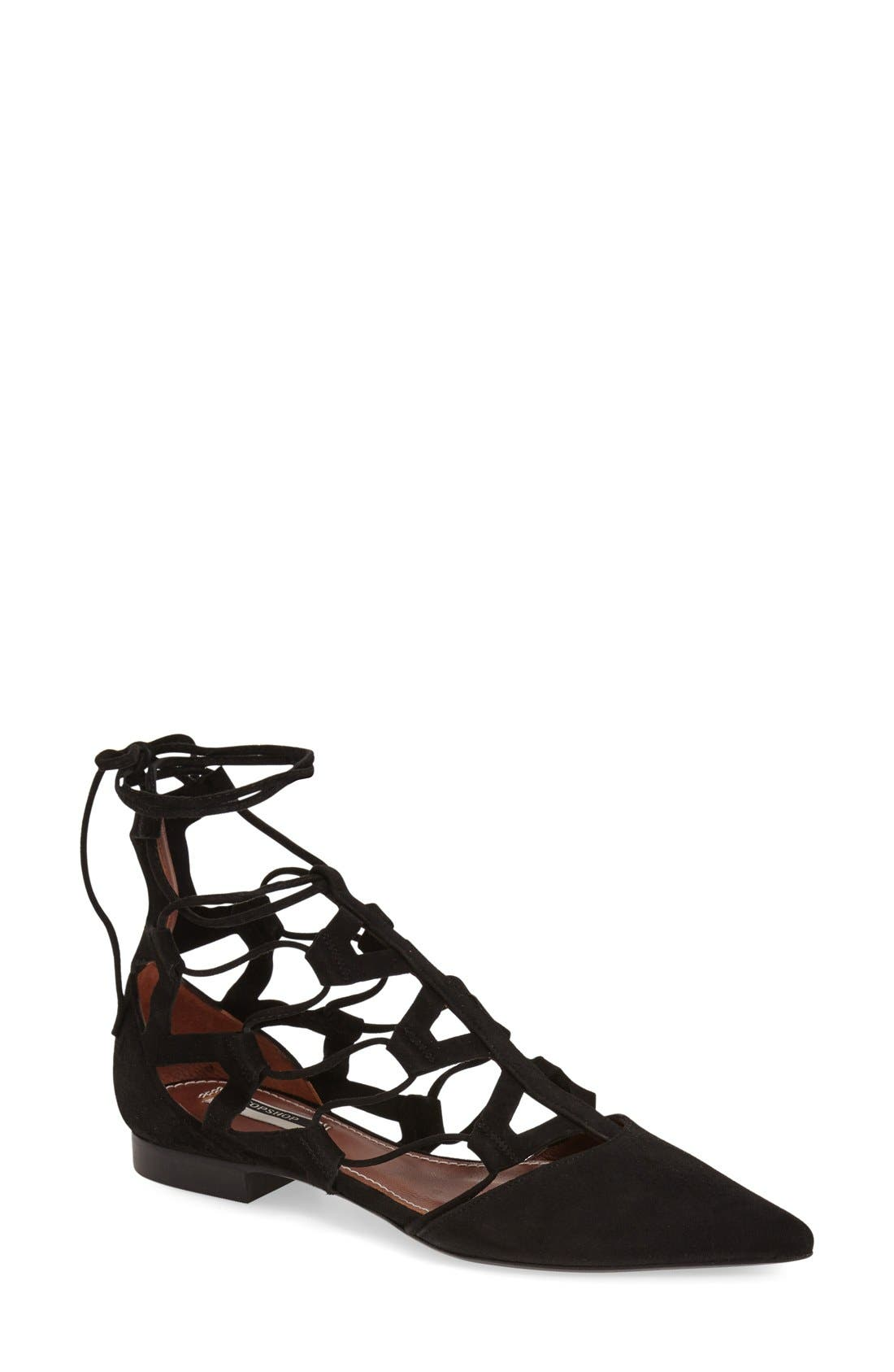 Main Image - Topshop 'Posy' Pointy Toe Ghillie Flat (Women)