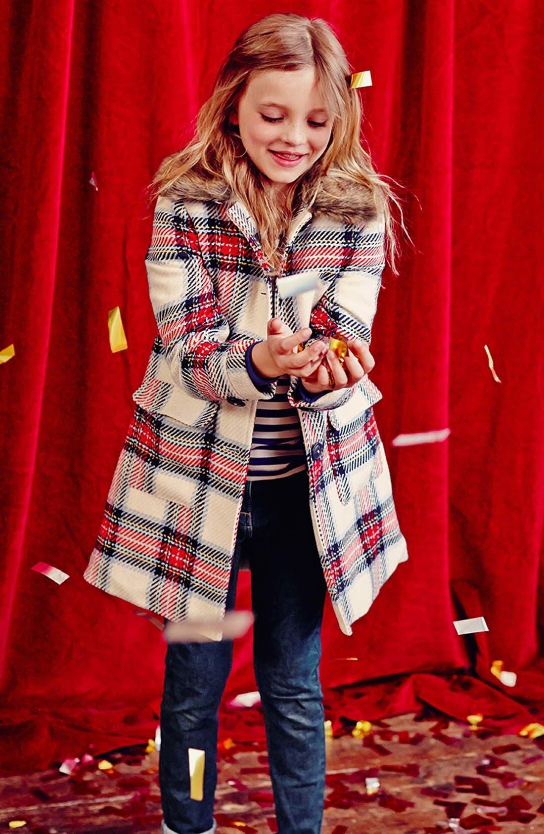Alternate Image 2  - Mini Boden 'Heritage Check' Peacoat (Toddler Girls, Little Girls & Big Girls)