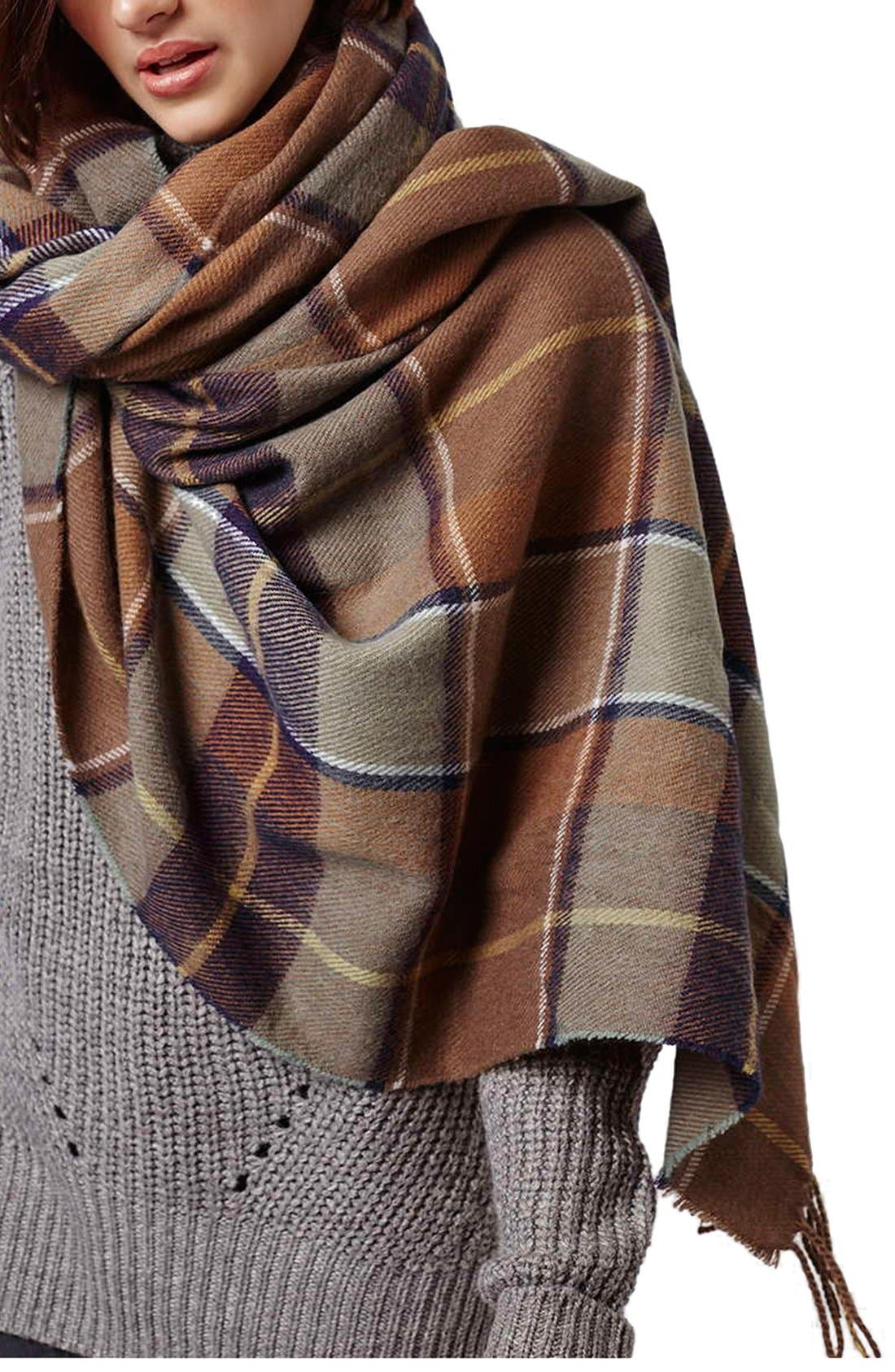 Alternate Image 1 Selected - Topshop Check Blanket Scarf