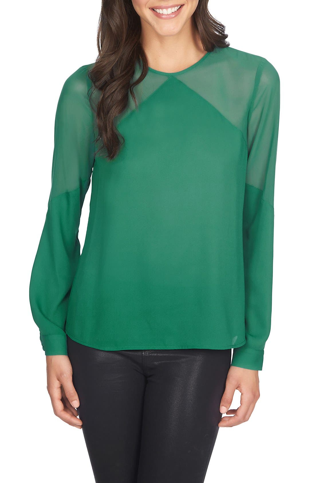 Main Image - 1.STATE Sheer Yoke Long Sleeve Blouse