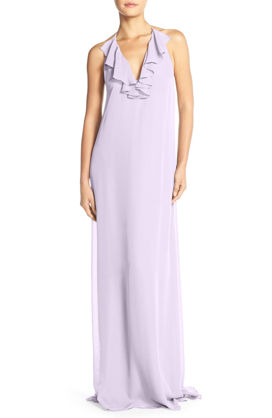 Main Image - nouvelle AMSALE 'Daryl' Ruffle Neck Chiffon Halter Gown