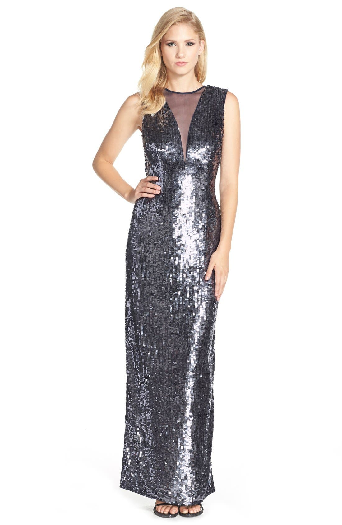Alternate Image 1 Selected - JS Collections Illusion Neck Sequin Gown