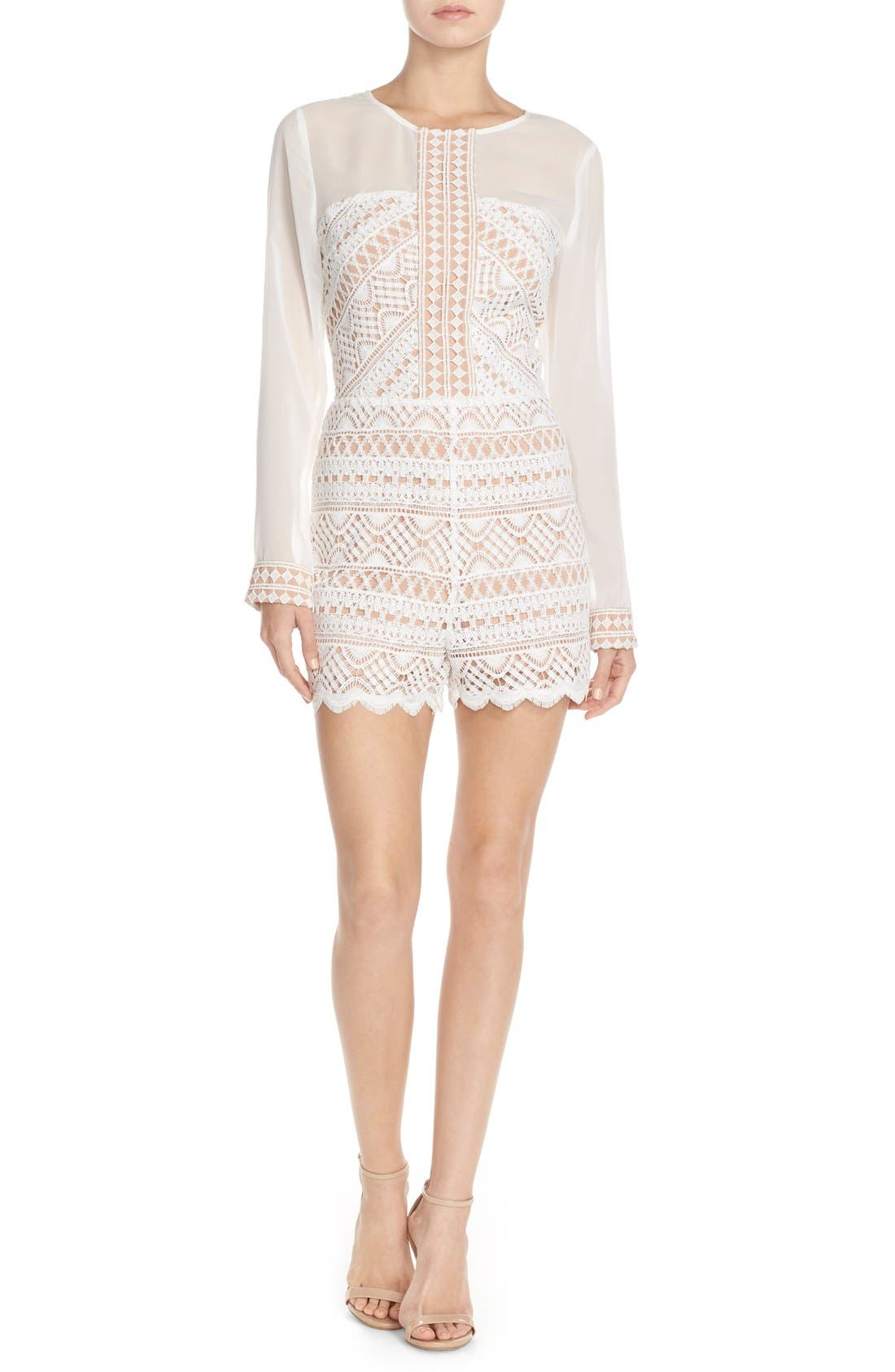 Alternate Image 1 Selected - Adelyn Rae Chiffon & Lace Romper
