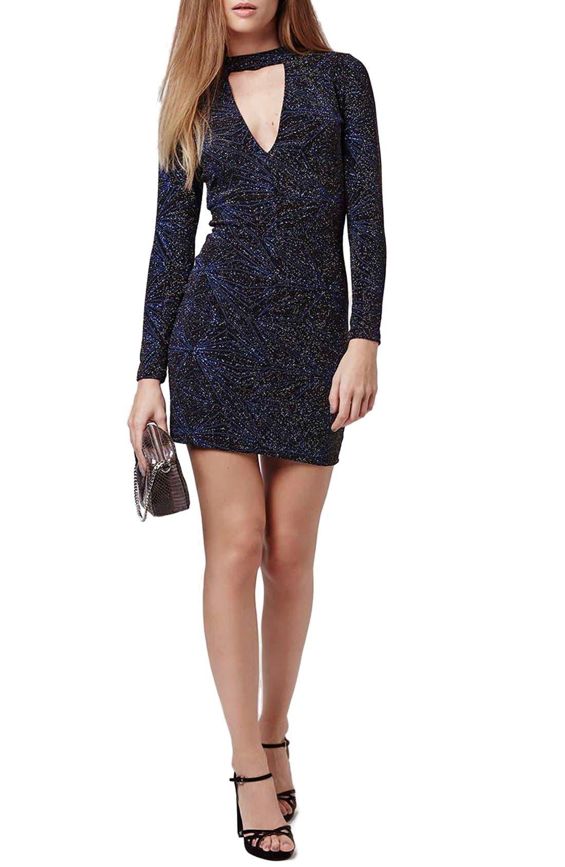 Main Image - Topshop Metallic Long Sleeve Body-Con Dress