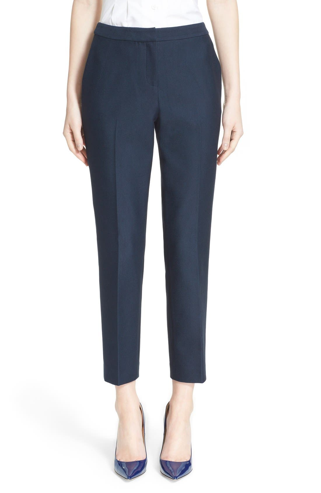 Main Image - Nordstrom Signature and Caroline Issa 'Raindrop' Slim Cotton Ankle Pants