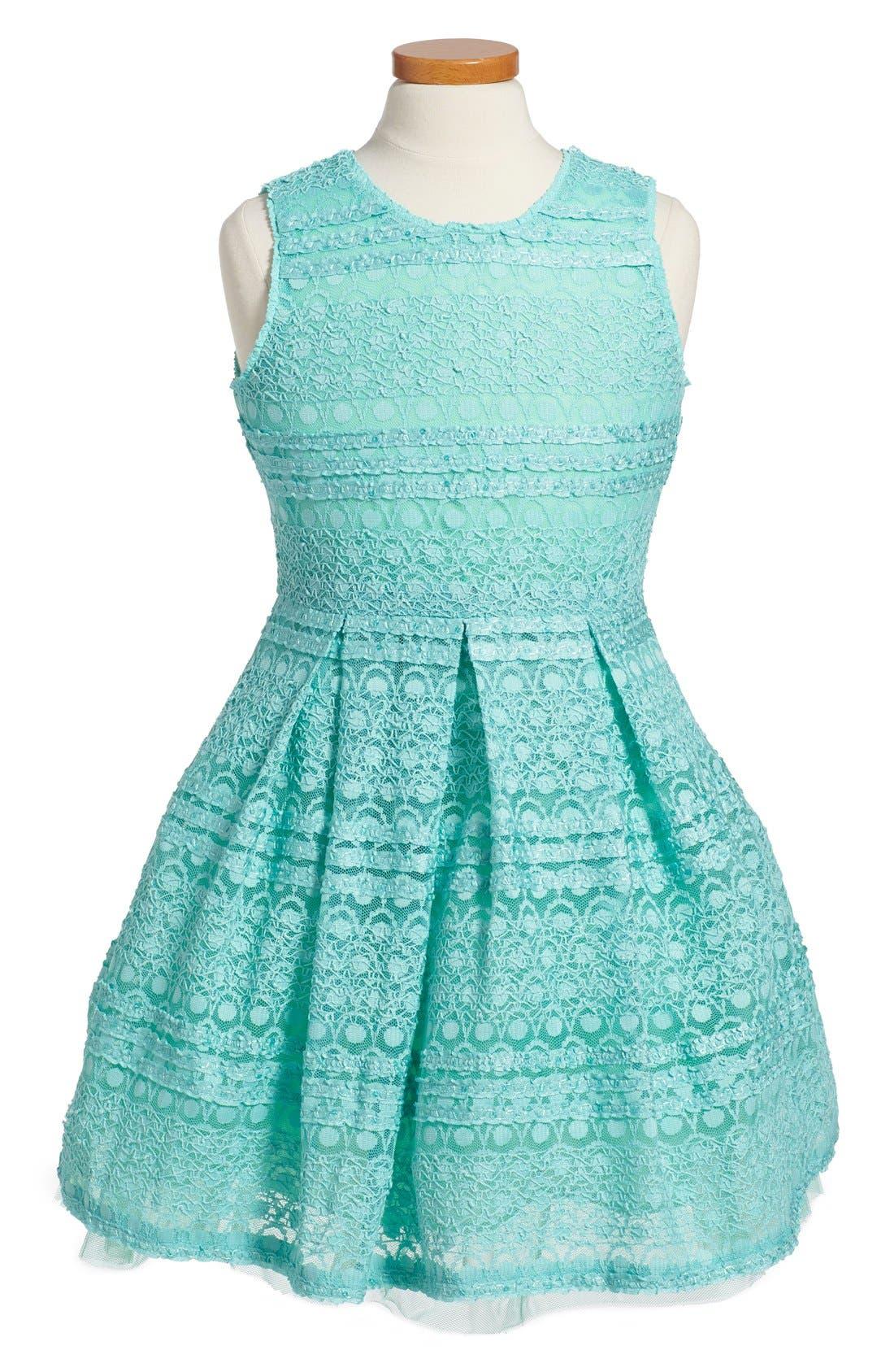 Alternate Image 1 Selected - Soprano Lace Skater Dress (Big Girls)