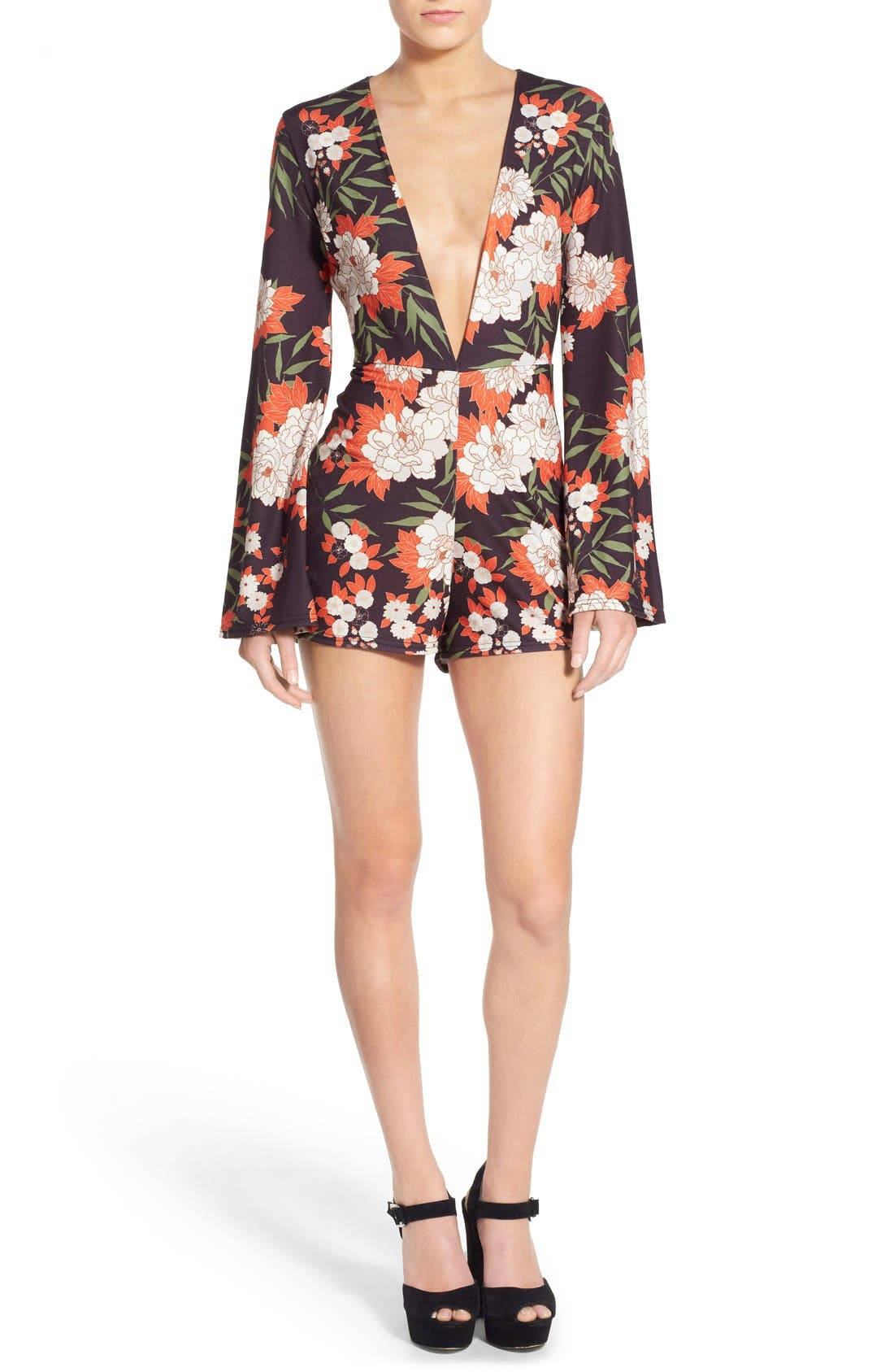 Main Image - Missguided Floral Plunge Romper