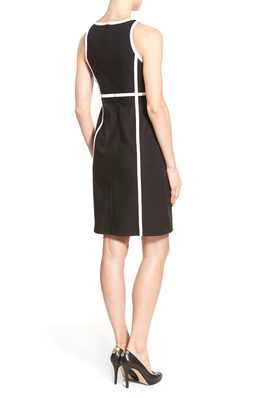 Alternate Image 2  - MICHAEL Michael Kors Contrast Trim Front Zip Sheath Dress (Regular & Petite)