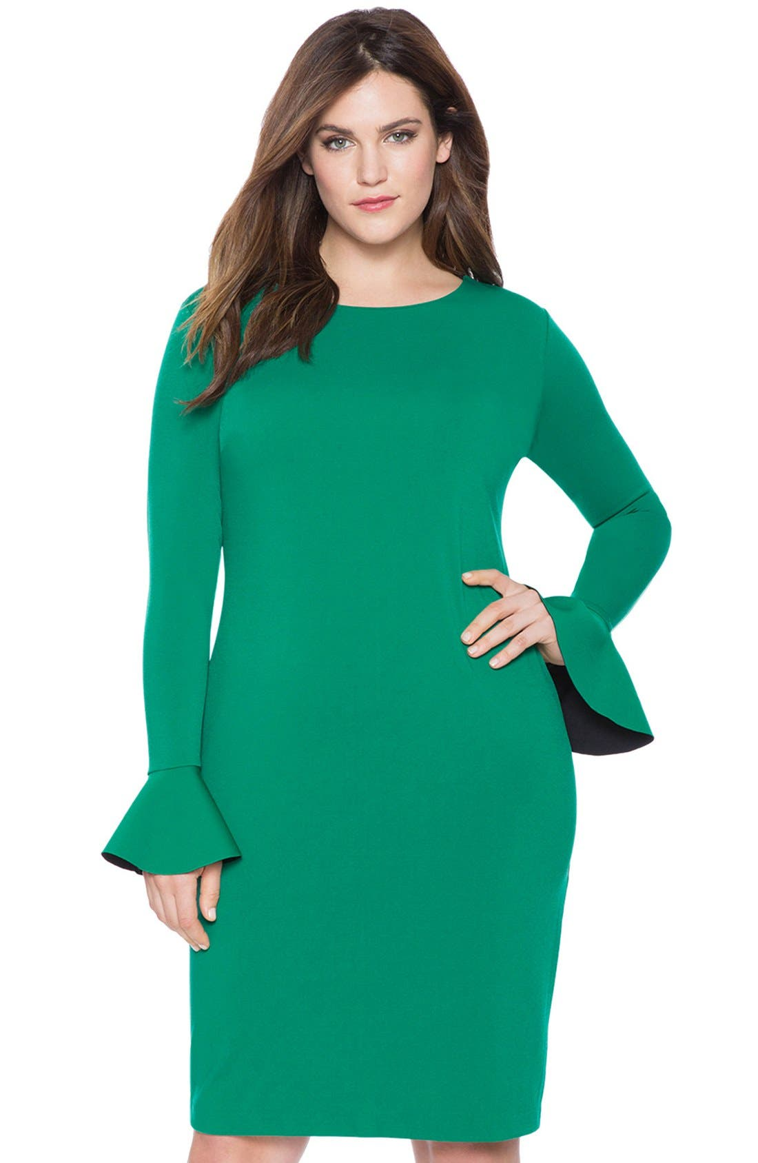 Alternate Image 3  - ELOQUII Lace Inset Flounce Cuff Body-Con Dress (Plus Size)