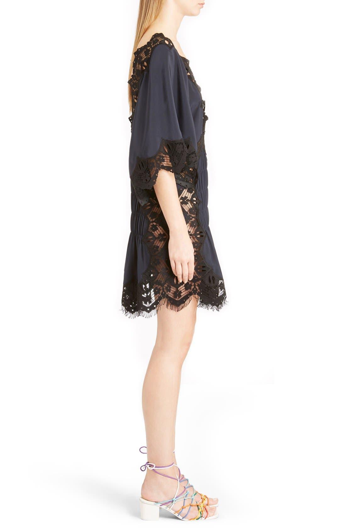 Alternate Image 4  - Chloé Smocked Scalloped Lace Trim Silk Dress