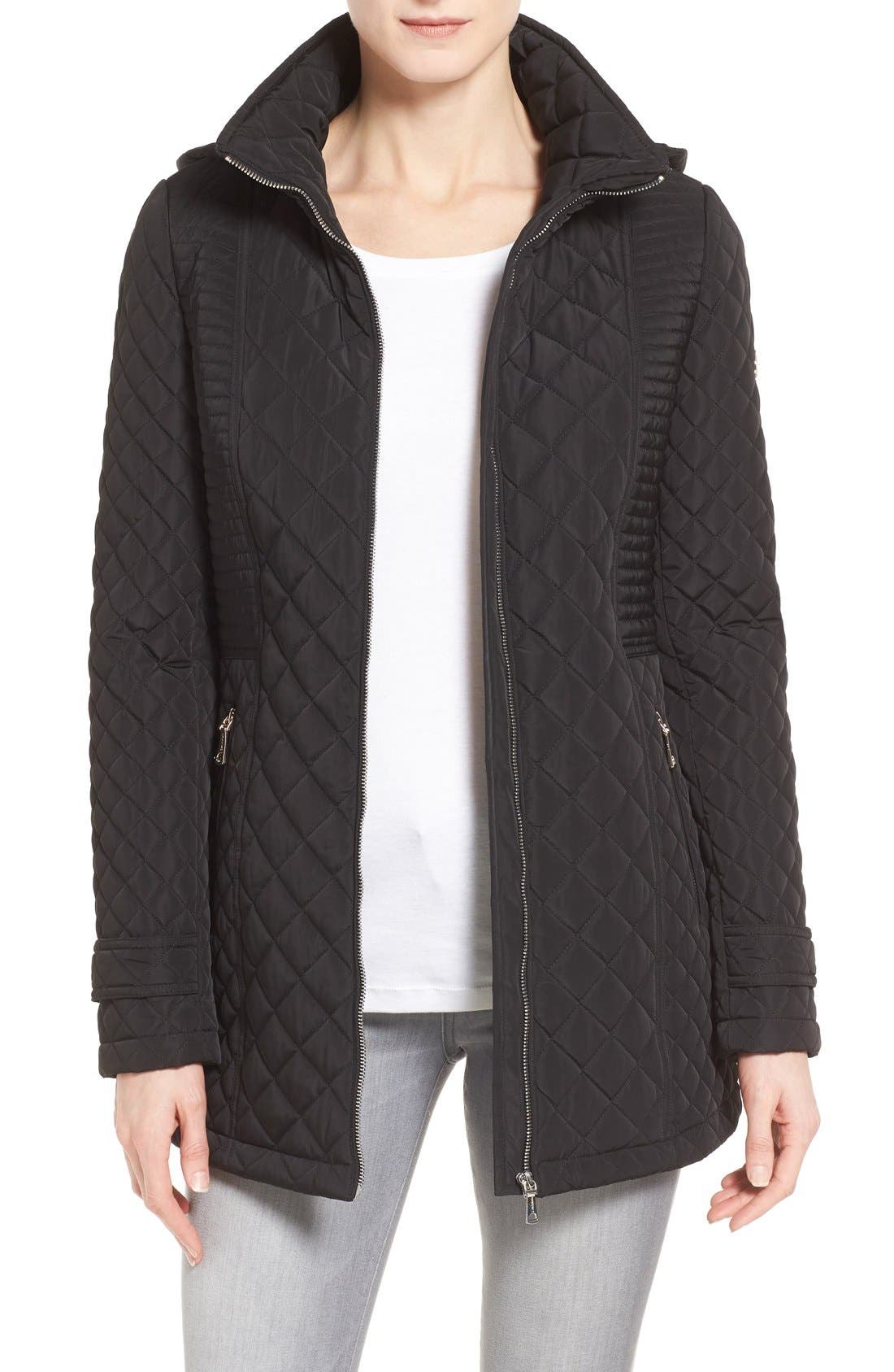 Alternate Image 1 Selected - Calvin Klein Hooded Quilted Jacket