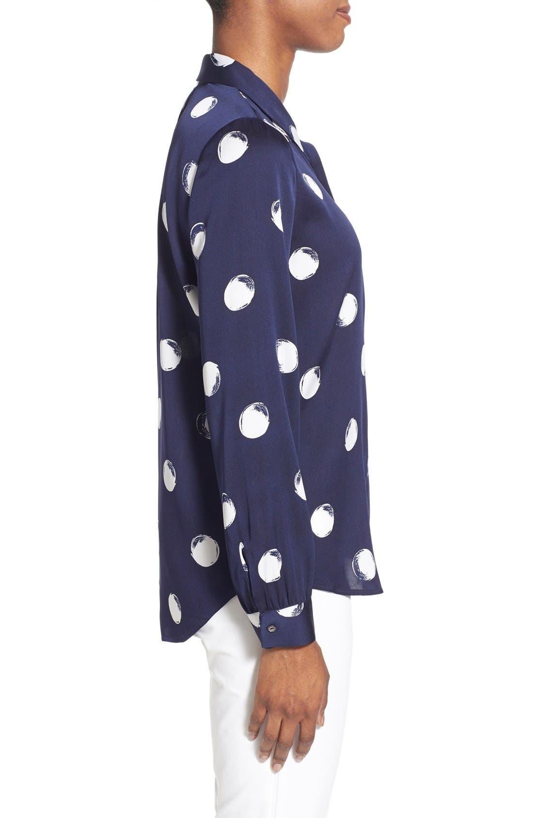 Alternate Image 3  - Nordstrom Collection Dot Print Stretch Silk Blouse