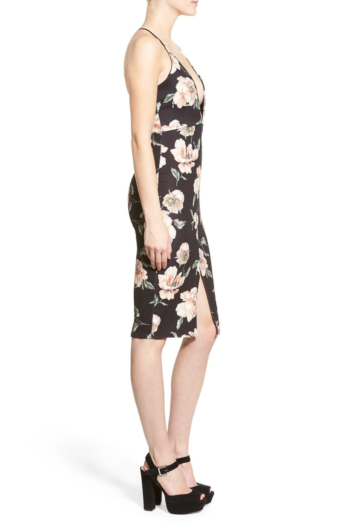 Alternate Image 3  - Missguided Floral Print Plunge Body-Con Dress