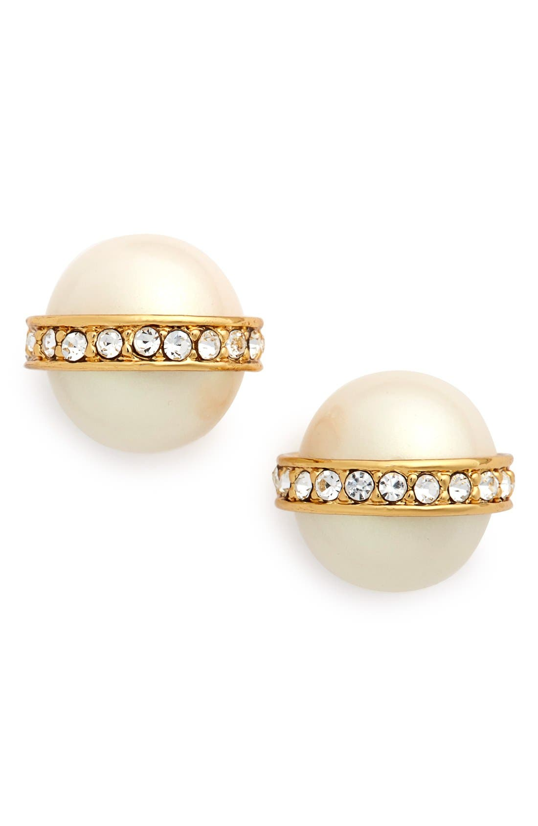 Main Image - kate spade new york faux pearl & crystal stud earrings
