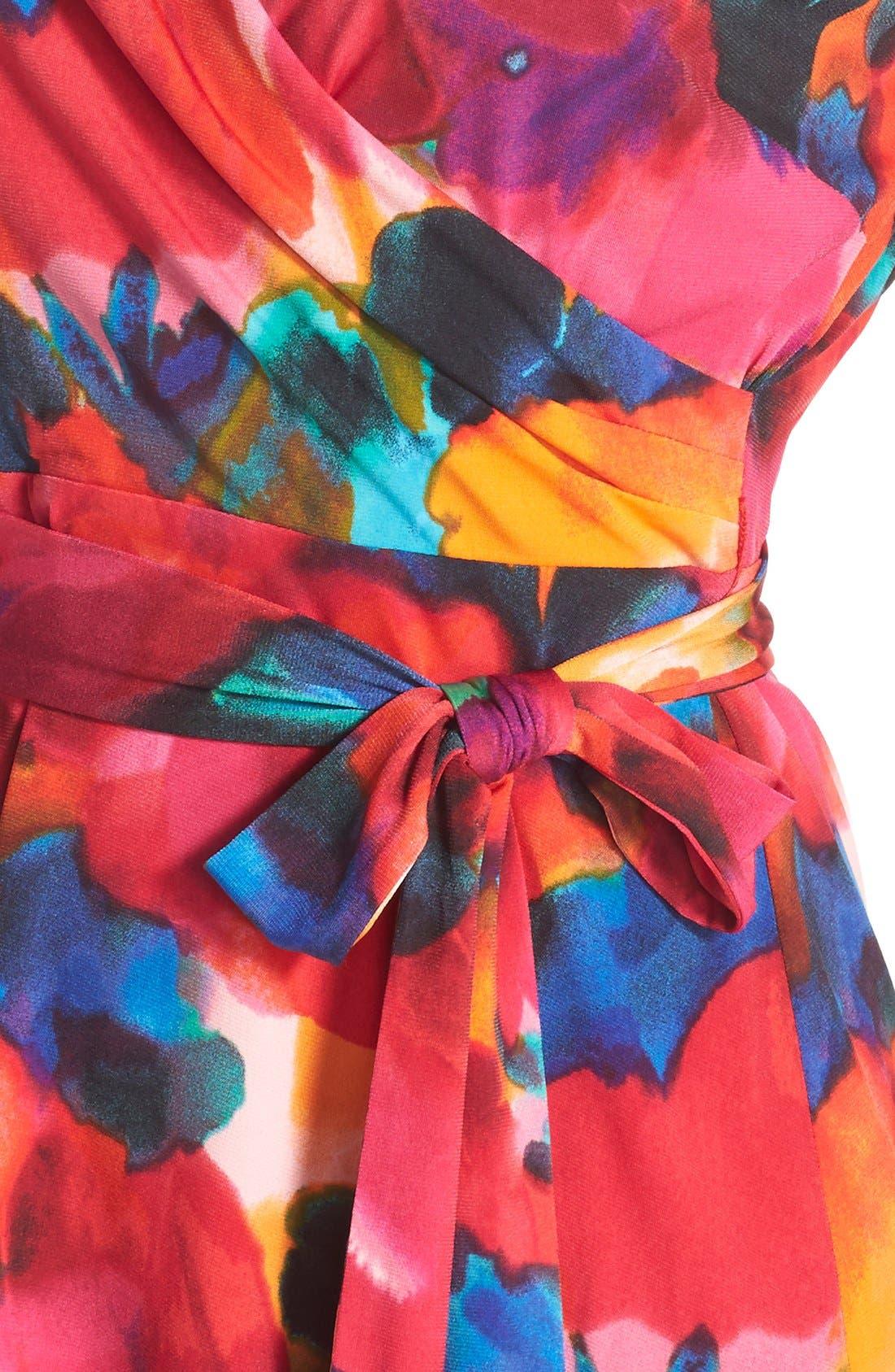 Alternate Image 4  - Ellen Tracy Watercolor Print Jersey Faux Wrap Dress