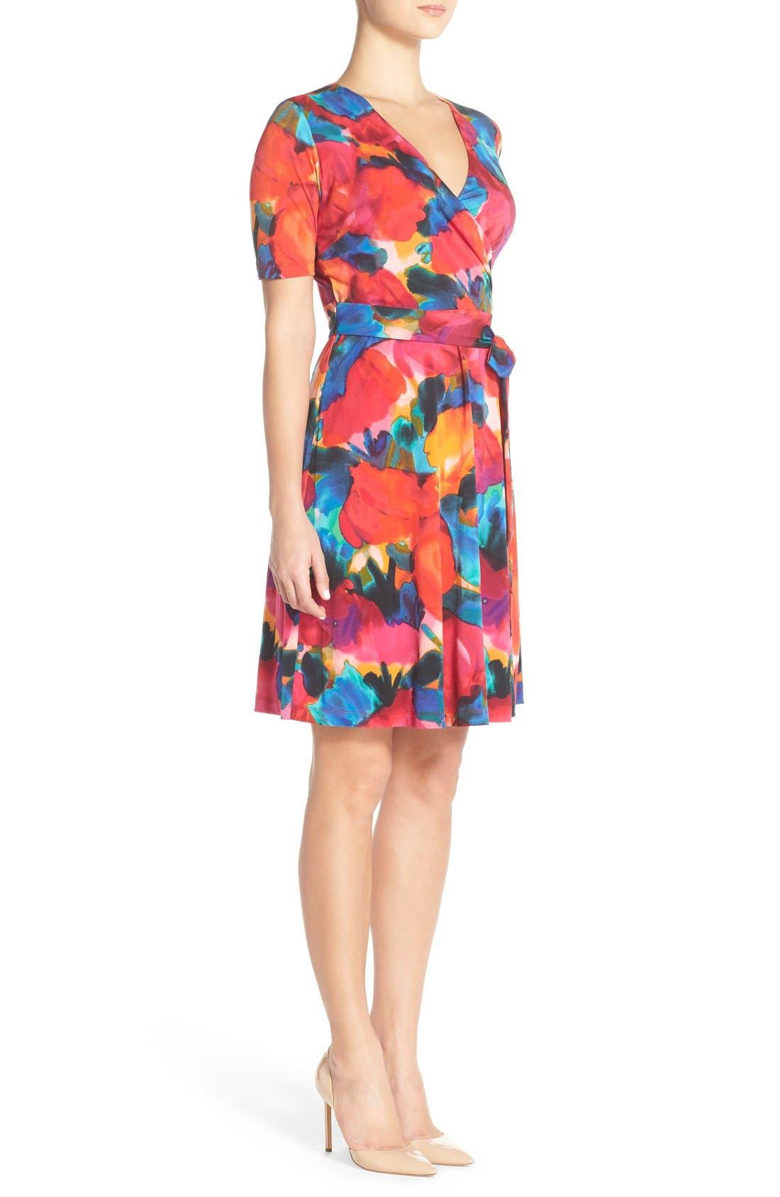 Alternate Image 2  - Ellen Tracy Watercolor Print Jersey Faux Wrap Dress