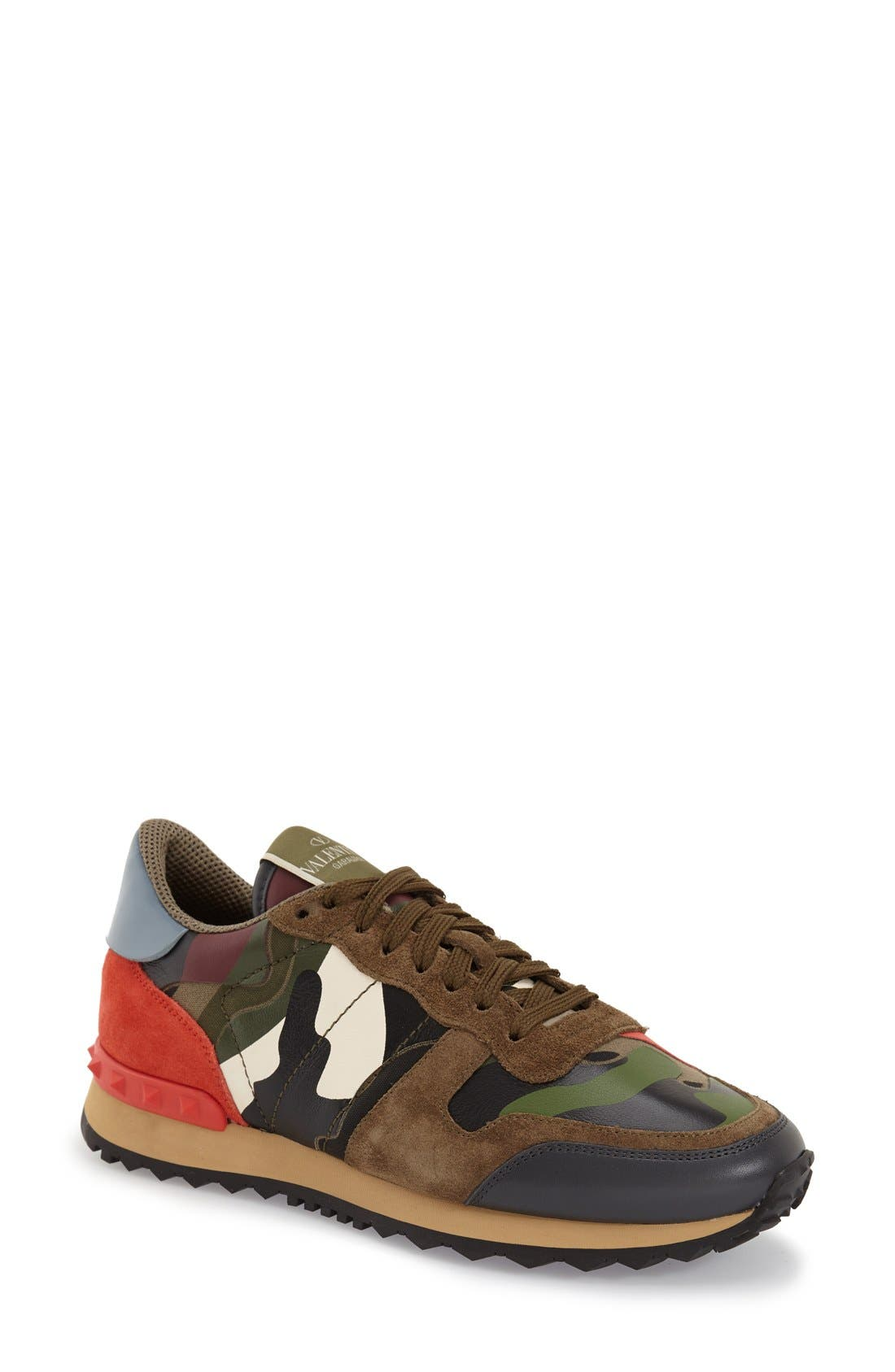 Alternate Image 1 Selected - Valentino Rockstud Camo Sneaker (Women)