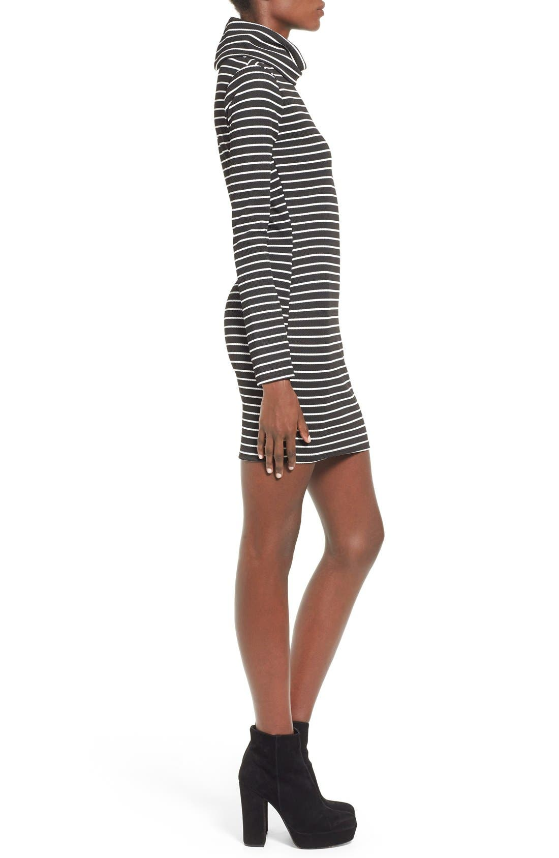 Alternate Image 3  - Missguided Stripe Turtleneck Body-Con Dress