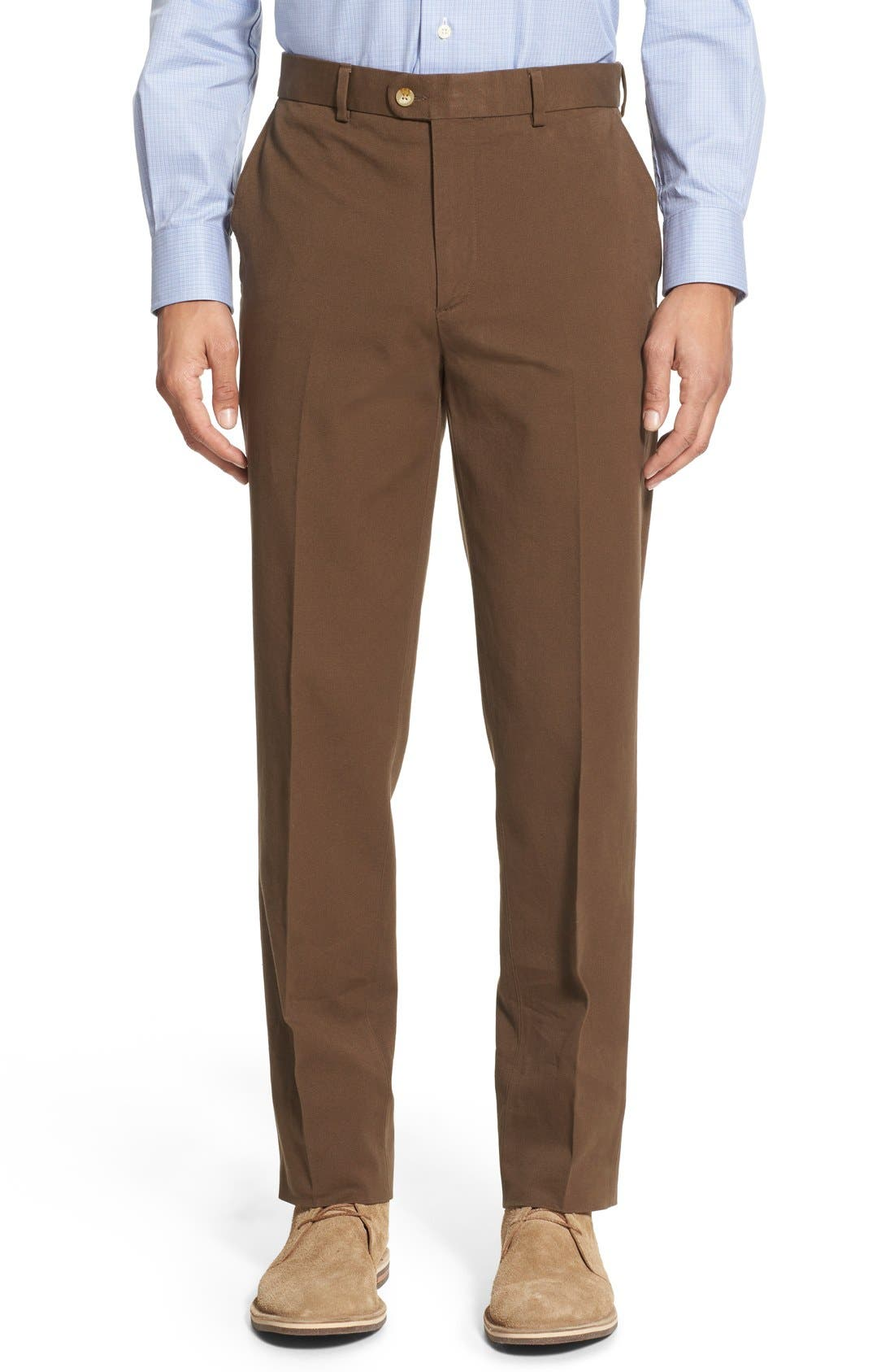 Bensol Trim Fit Stretch Cotton Ottoman Trousers