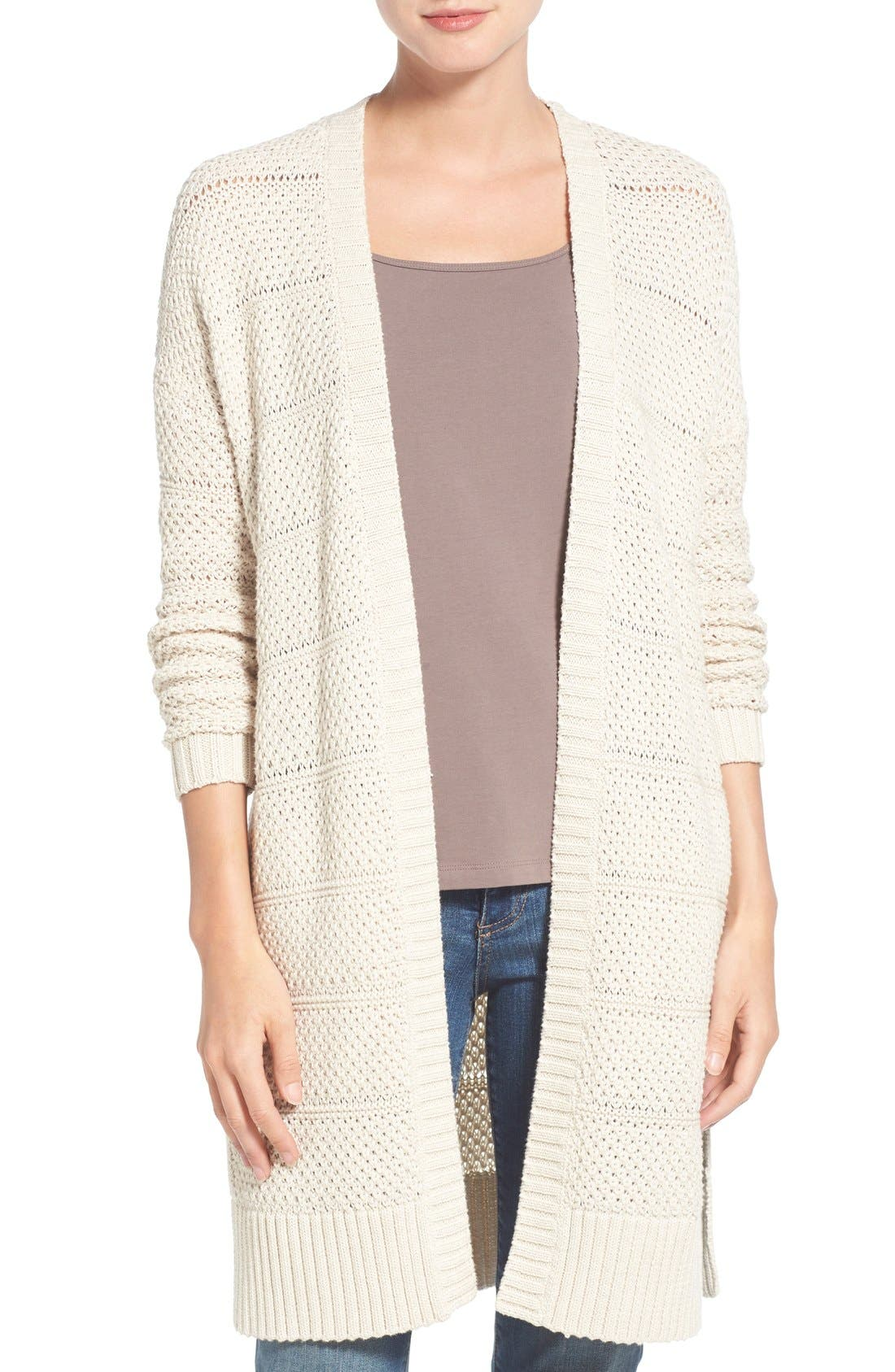 Alternate Image 1 Selected - Caslon® Open Stitch Long Cotton Cardigan (Regular & Petite)