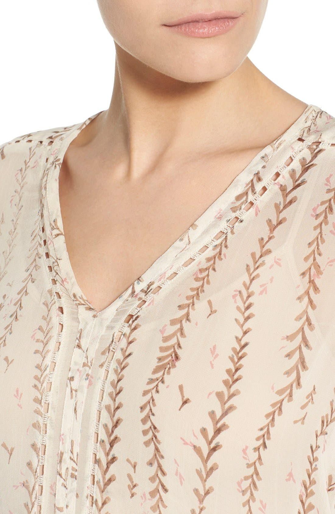 Alternate Image 4  - Lucky Brand Lace Inset Vine Print Blouse