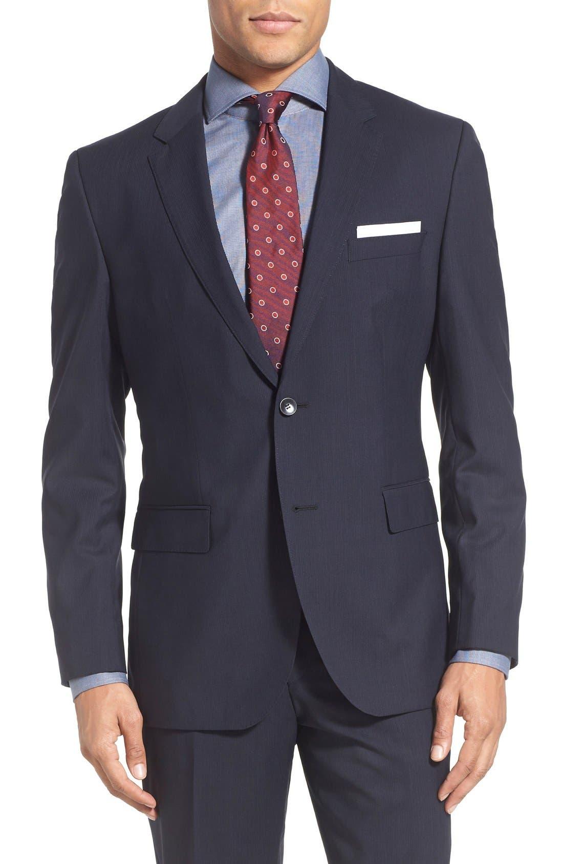 Alternate Image 5  - BOSS 'James/Sharp' Trim Fit Stripe Wool Suit
