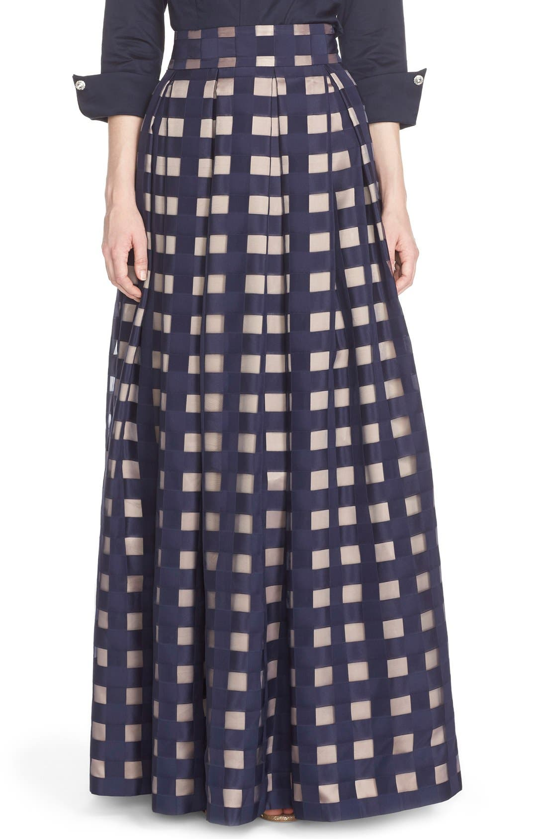 Main Image - Eliza J Windowpane Satin Ball Skirt