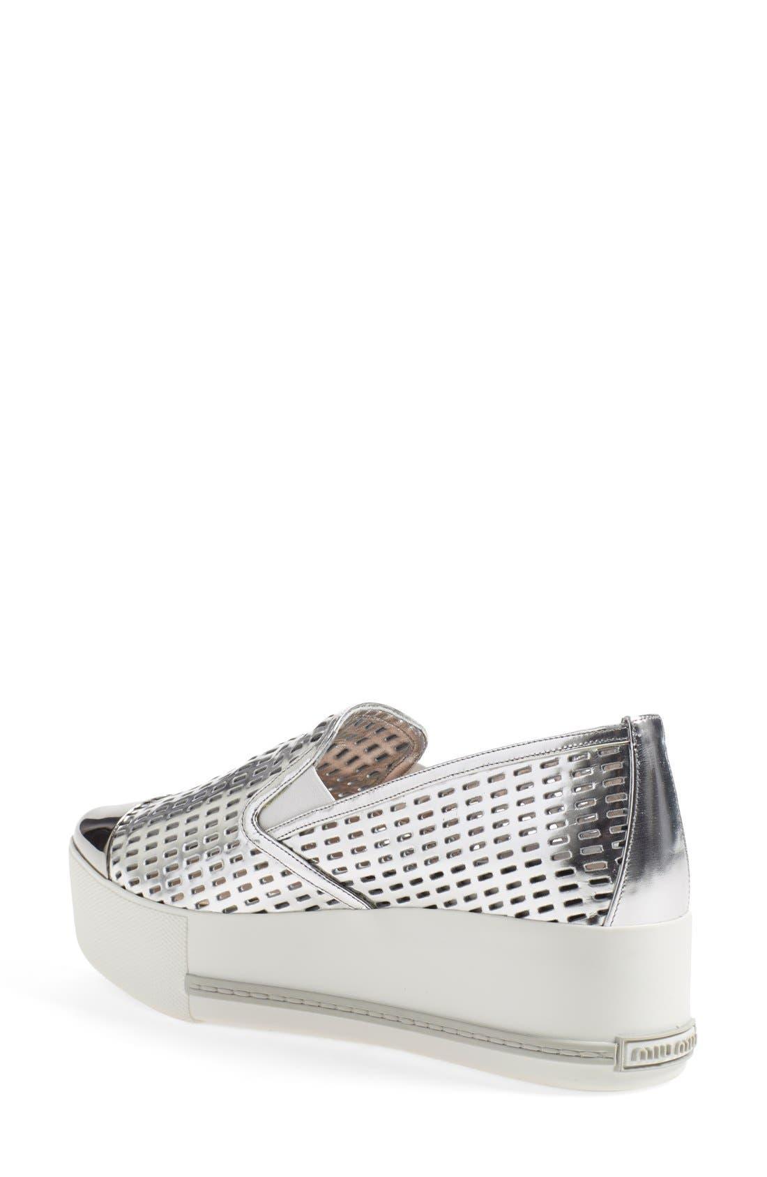 Alternate Image 2  - Miu Miu 'Pantofole' Perforated Platform Sneaker (Women)