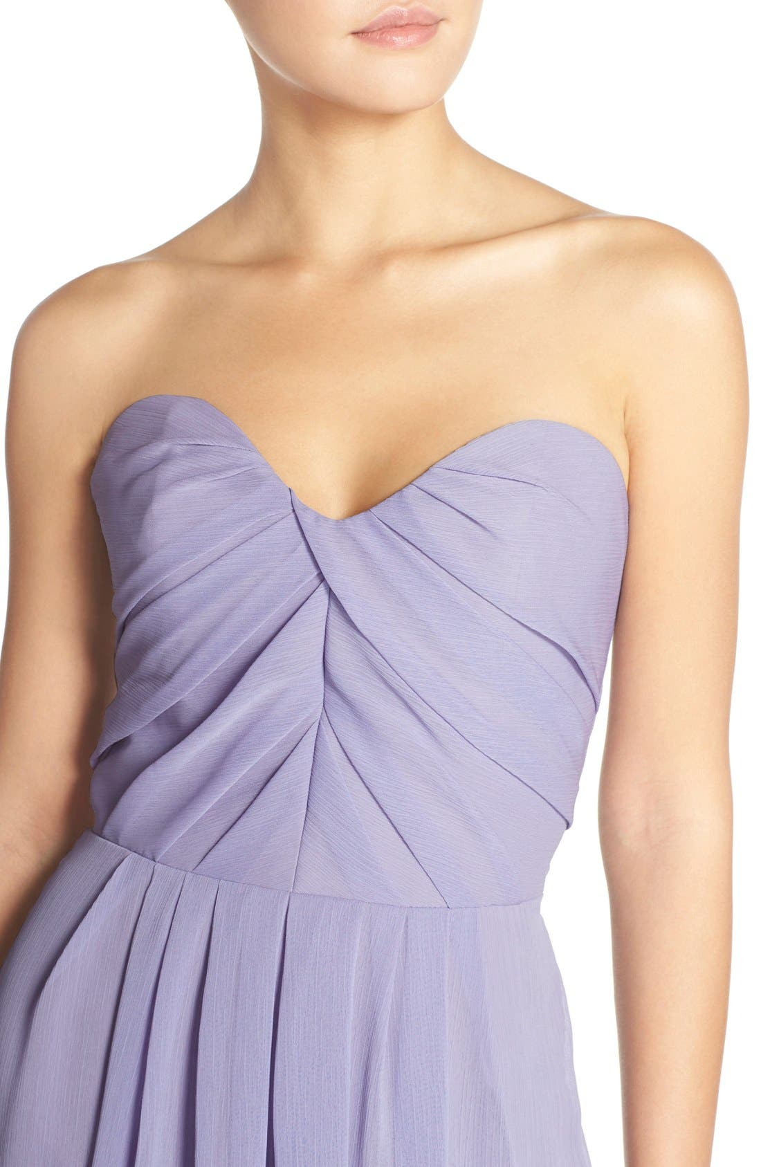 Alternate Image 4  - Hayley Paige Occasions Strapless Crinkle Chiffon A-Line Gown