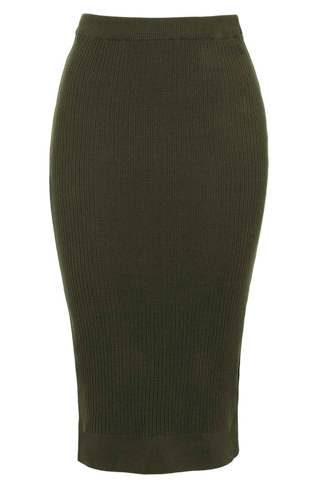 Alternate Image 4  - Topshop Ribbed Body-Con Midi Skirt