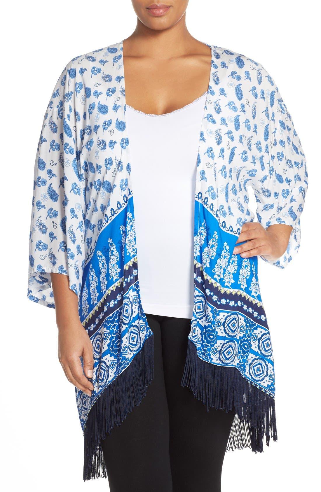 PJ Salvage Fringe Trim Print Kimono (Plus Size)