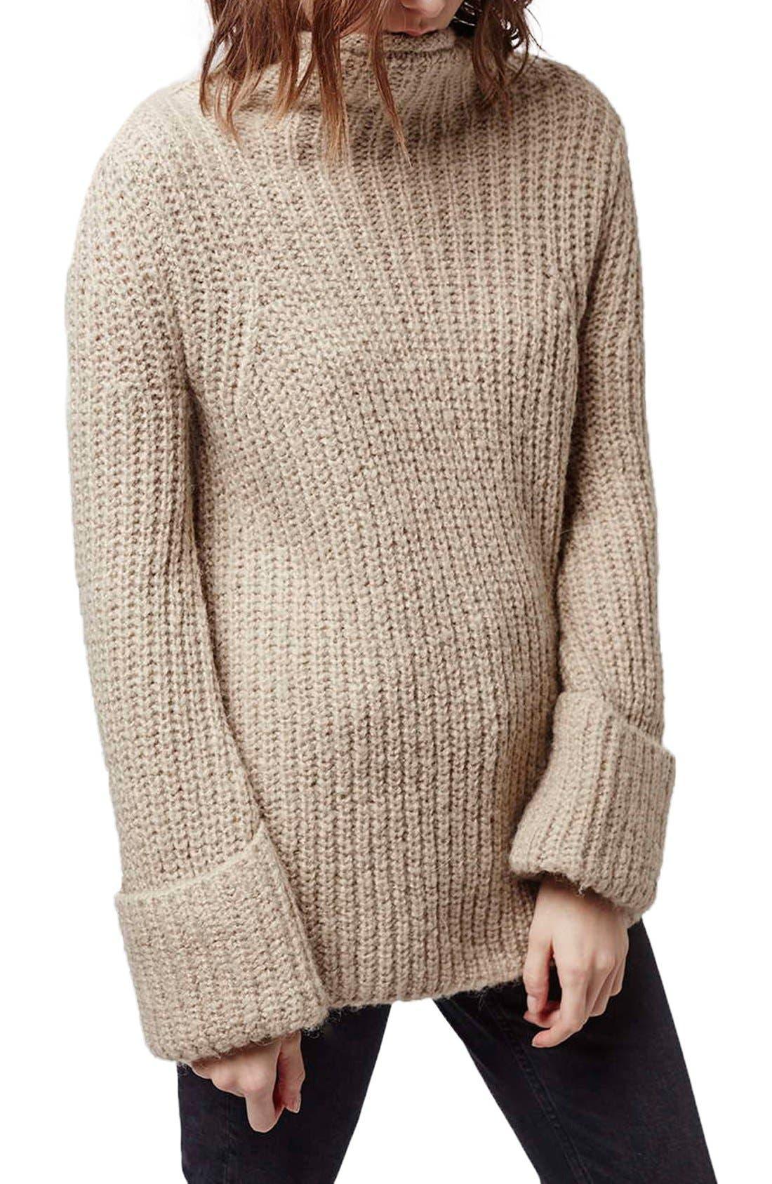 Main Image - Topshop 'Jumbo' Funnel Neck Sweater