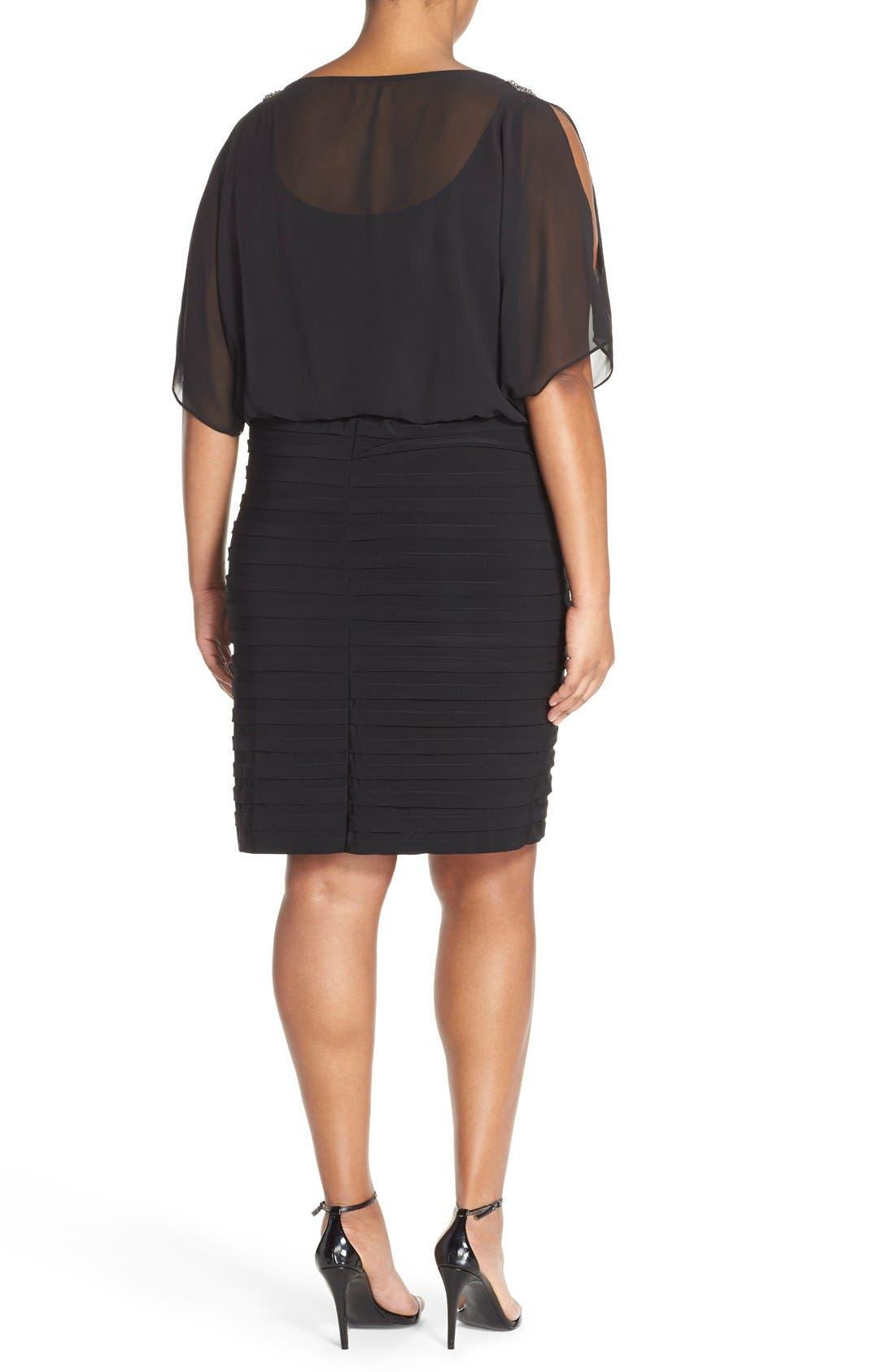 Alternate Image 2  - Xscape Beaded Cold Shoulder Dress (Plus Size)