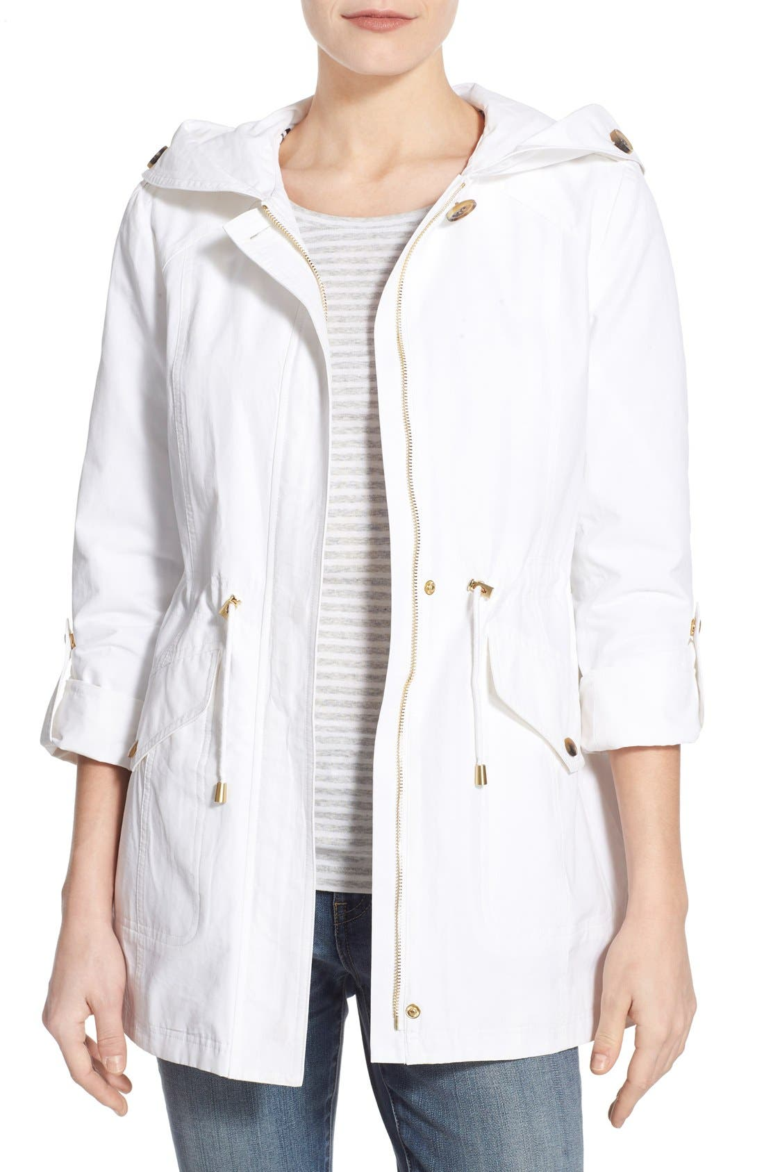 Alternate Image 1 Selected - Ellen Tracy Roll Sleeve Sail Cloth Anorak