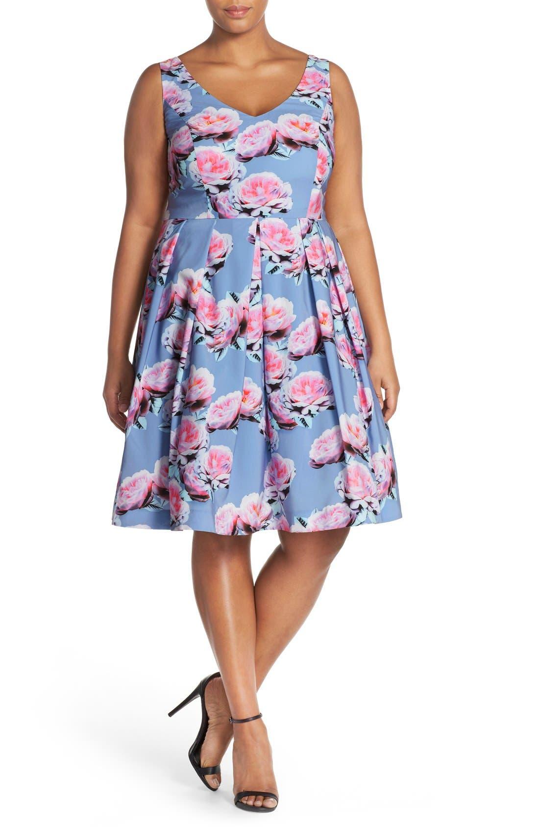 Alternate Image 5  - City Chic 'Powder Posey' Floral Print V-Neck Fit & Flare Dress (Plus Size)