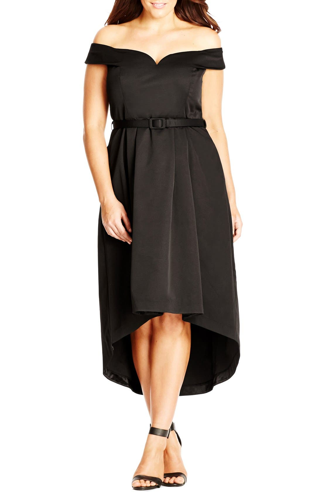 Alternate Image 1 Selected - City Chic High/Low Off the Shoulder Dress (Plus Size)