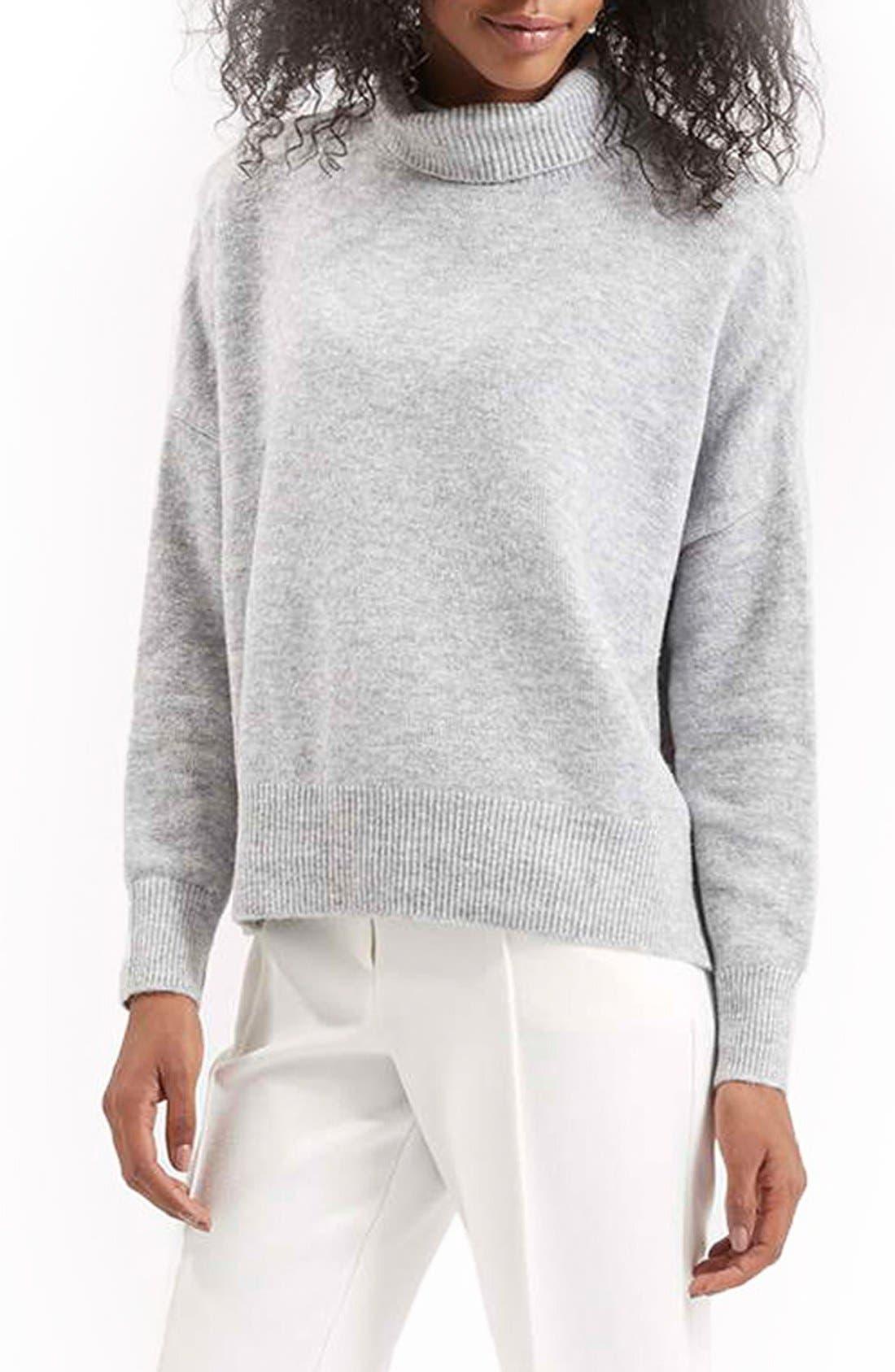 Alternate Image 1 Selected - TopshopBack Zip Turtleneck Sweater