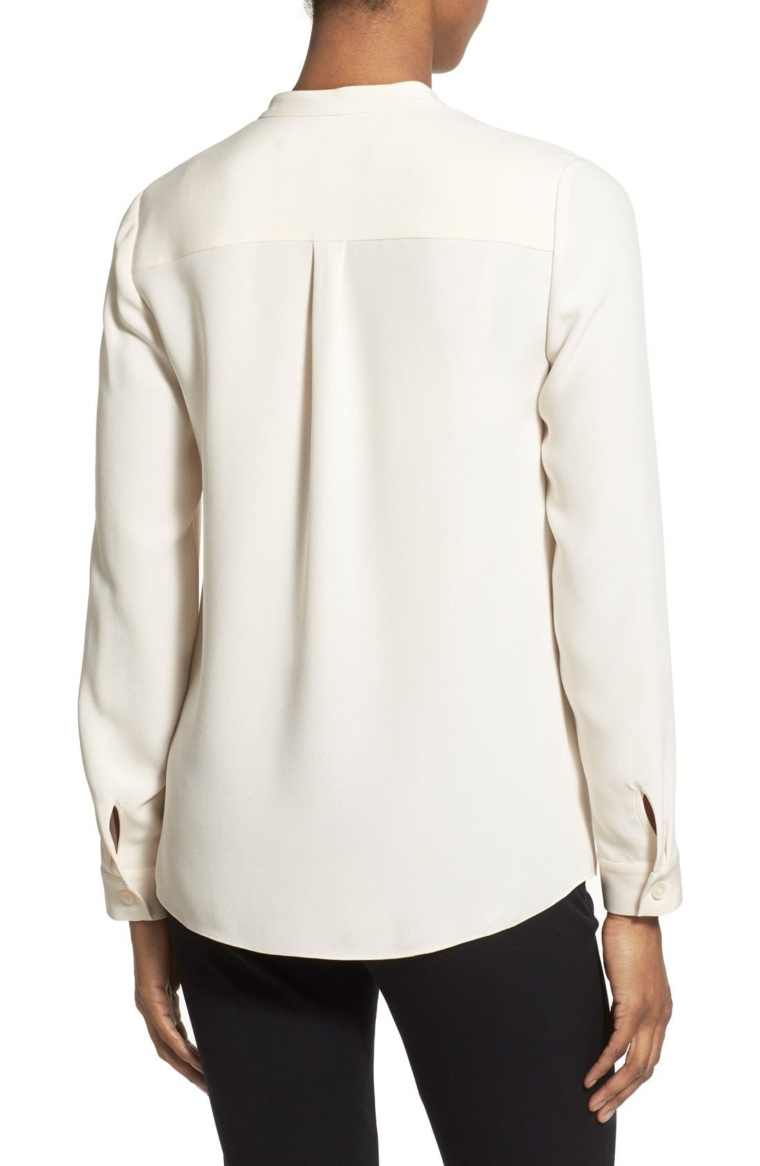 Alternate Image 2  - Nordstrom Collection Sandwashed Silk Band Collar Blouse