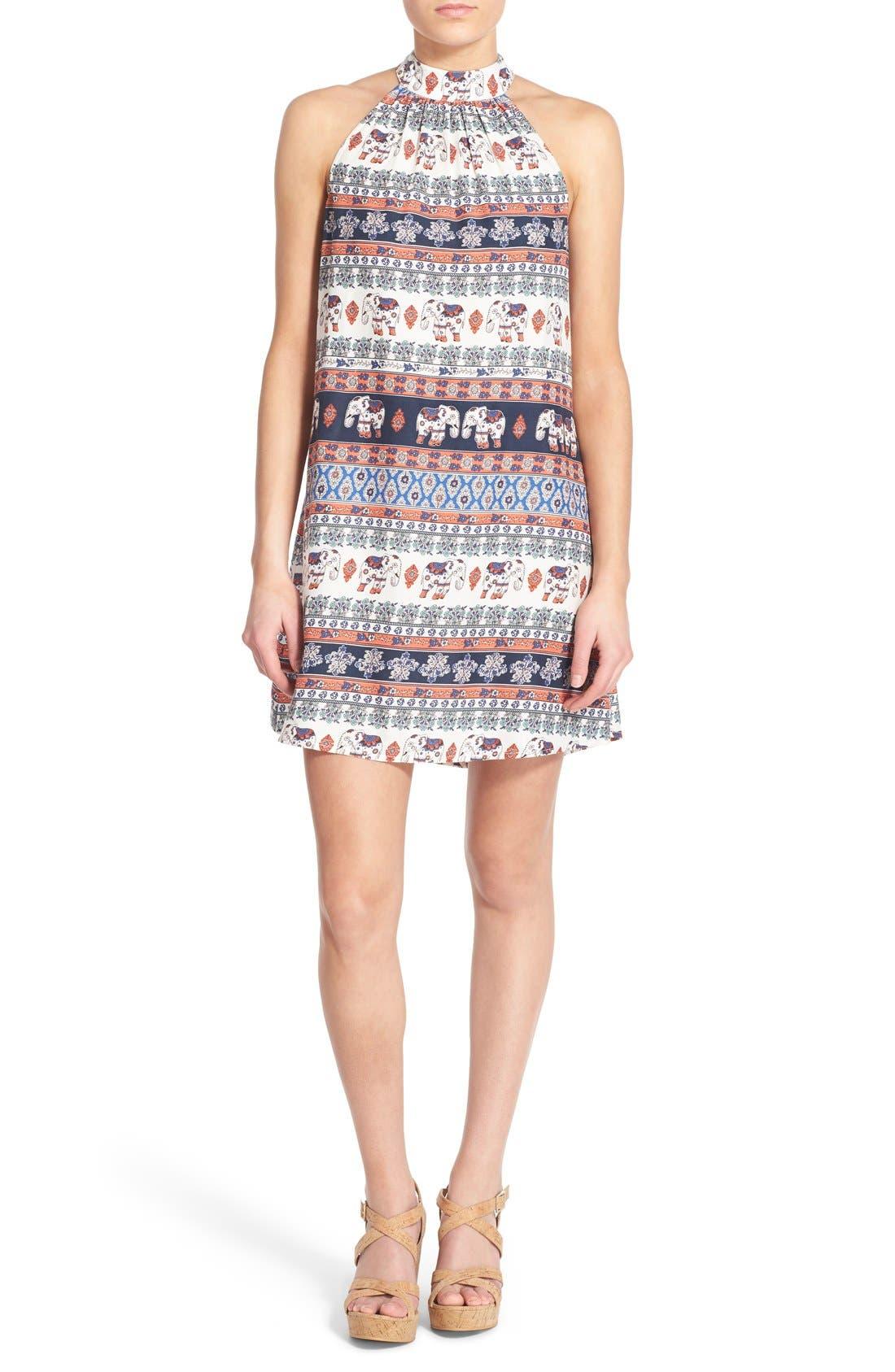 Alternate Image 1 Selected - Band of Gypsies Print Mock Neck Shift Dress