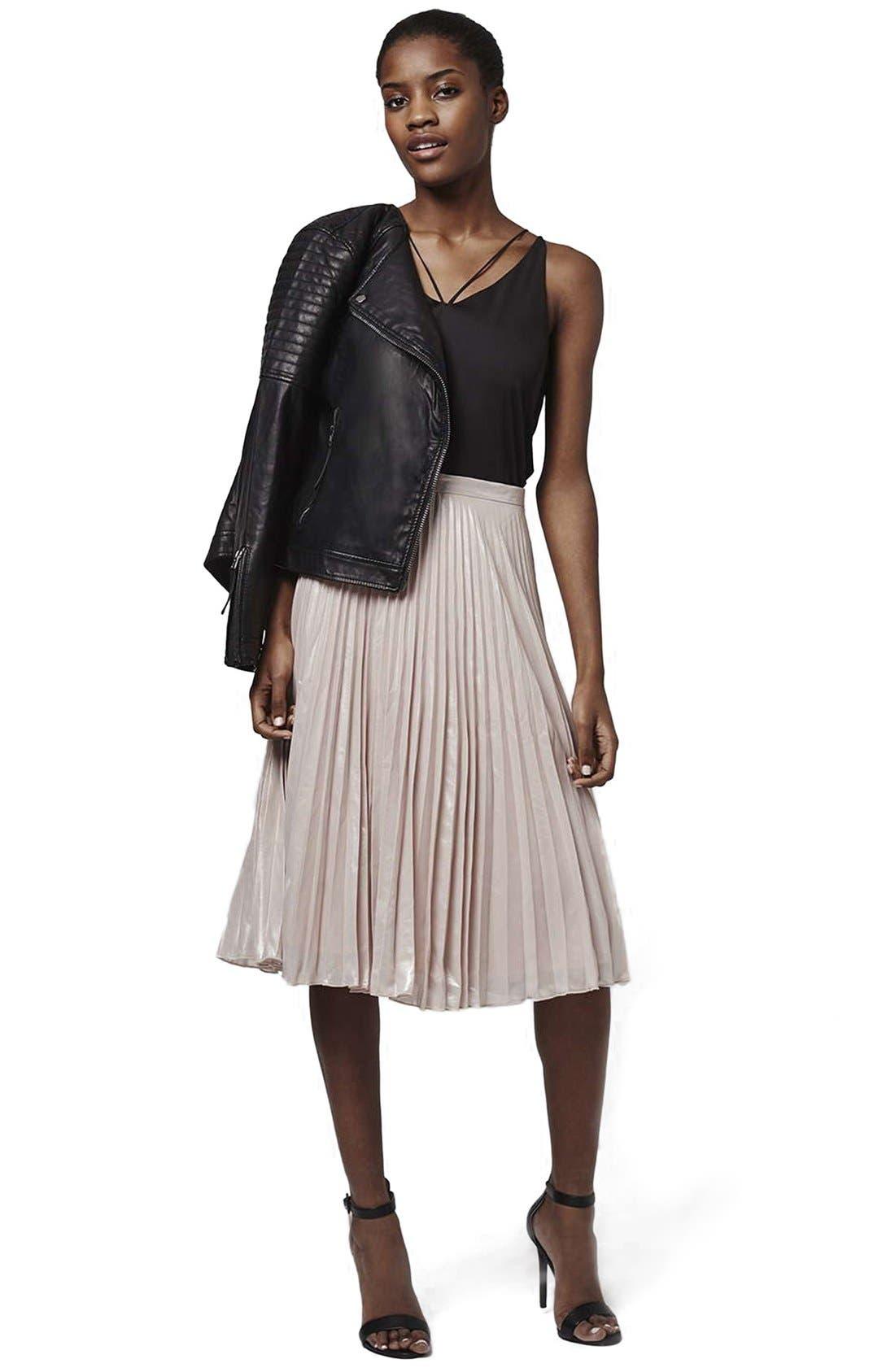 Alternate Image 2  - Topshop Metallic Pleated Midi Skirt (Petite)
