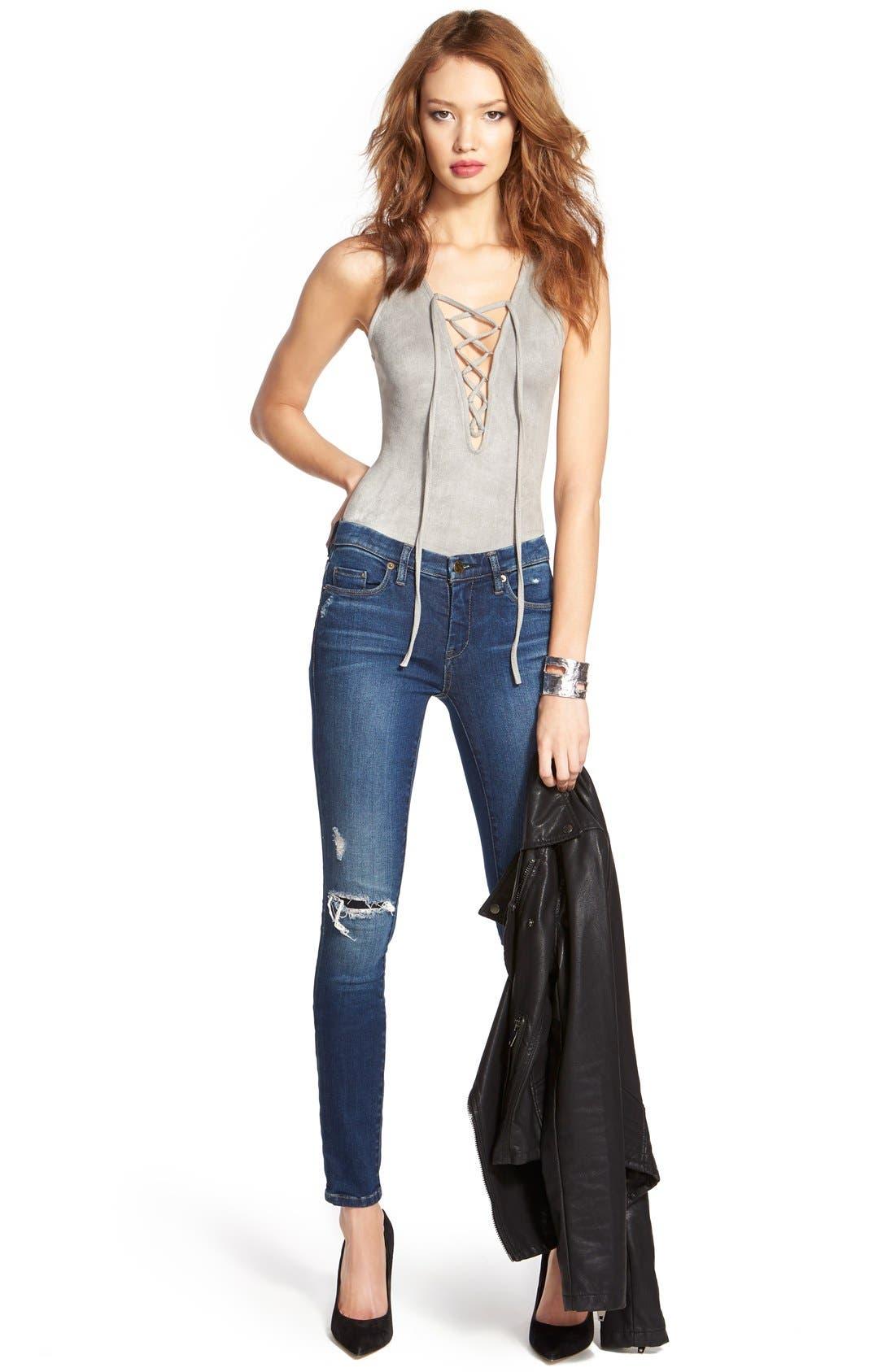 Alternate Image 2  - BLANKNYC'Hotel' Distressed Skinny Jeans (Blue)