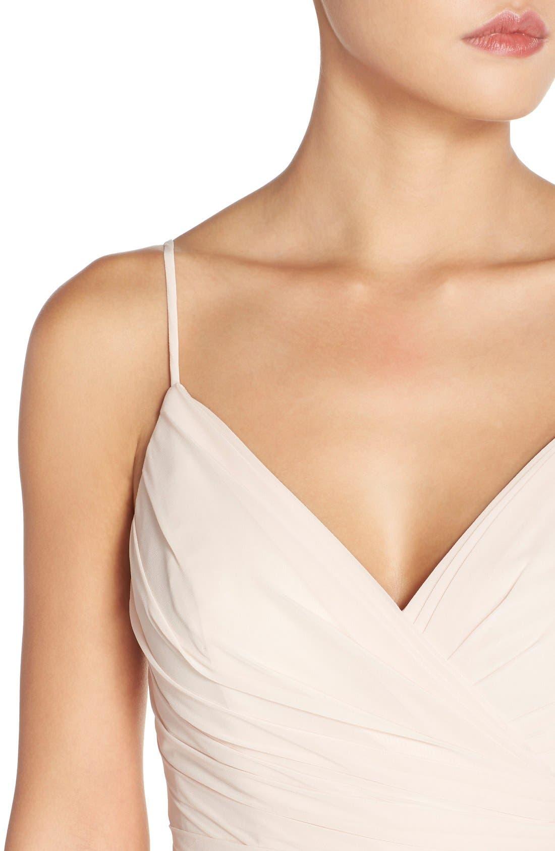 Alternate Image 4  - Monique Lhuillier Bridesmaids Lace Trim Chiffon Surplice Gown