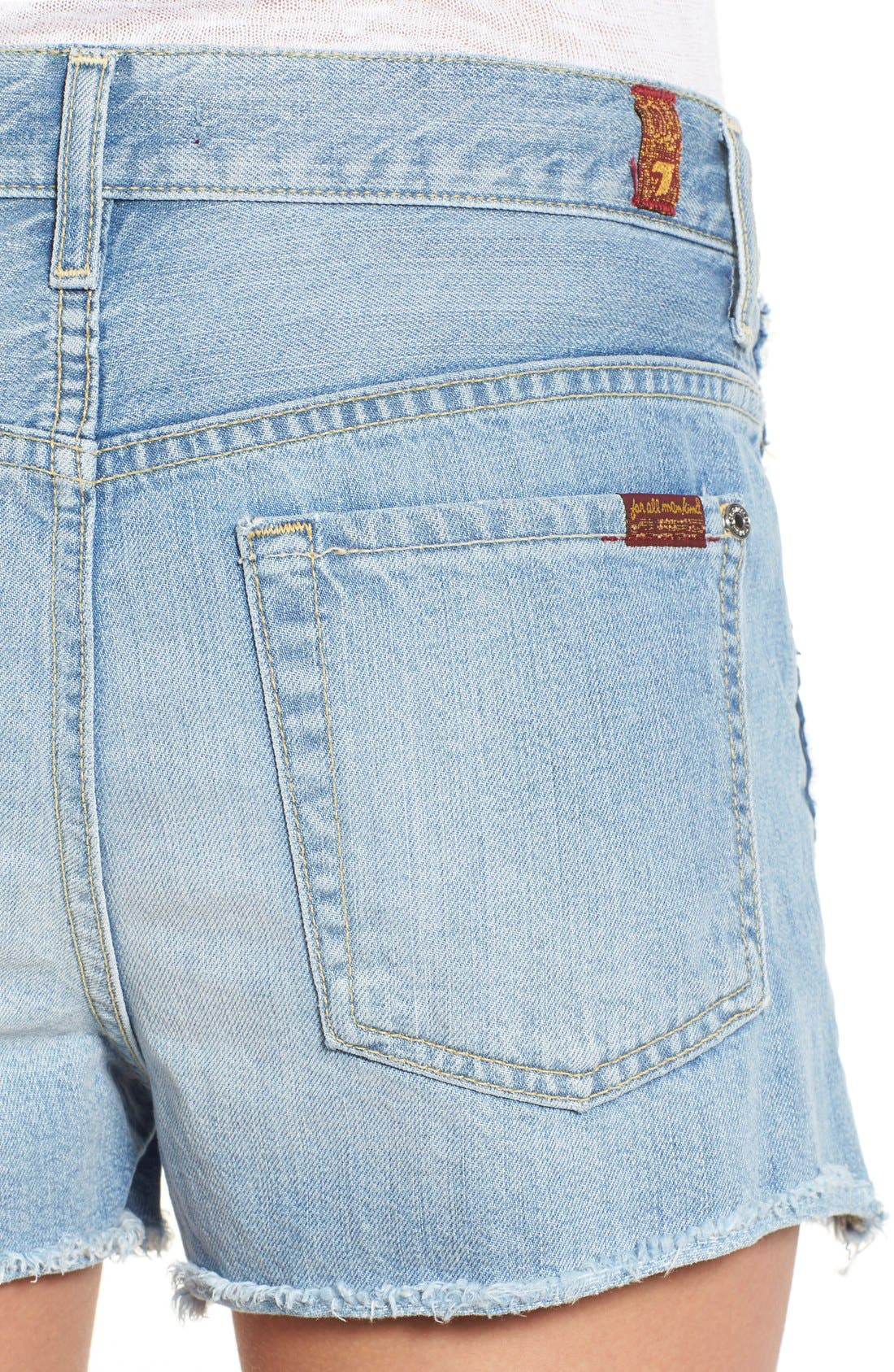 Alternate Image 4  - 7 For All Mankind® High Rise Cutoff Denim Shorts (Vintage Coronado Springs)
